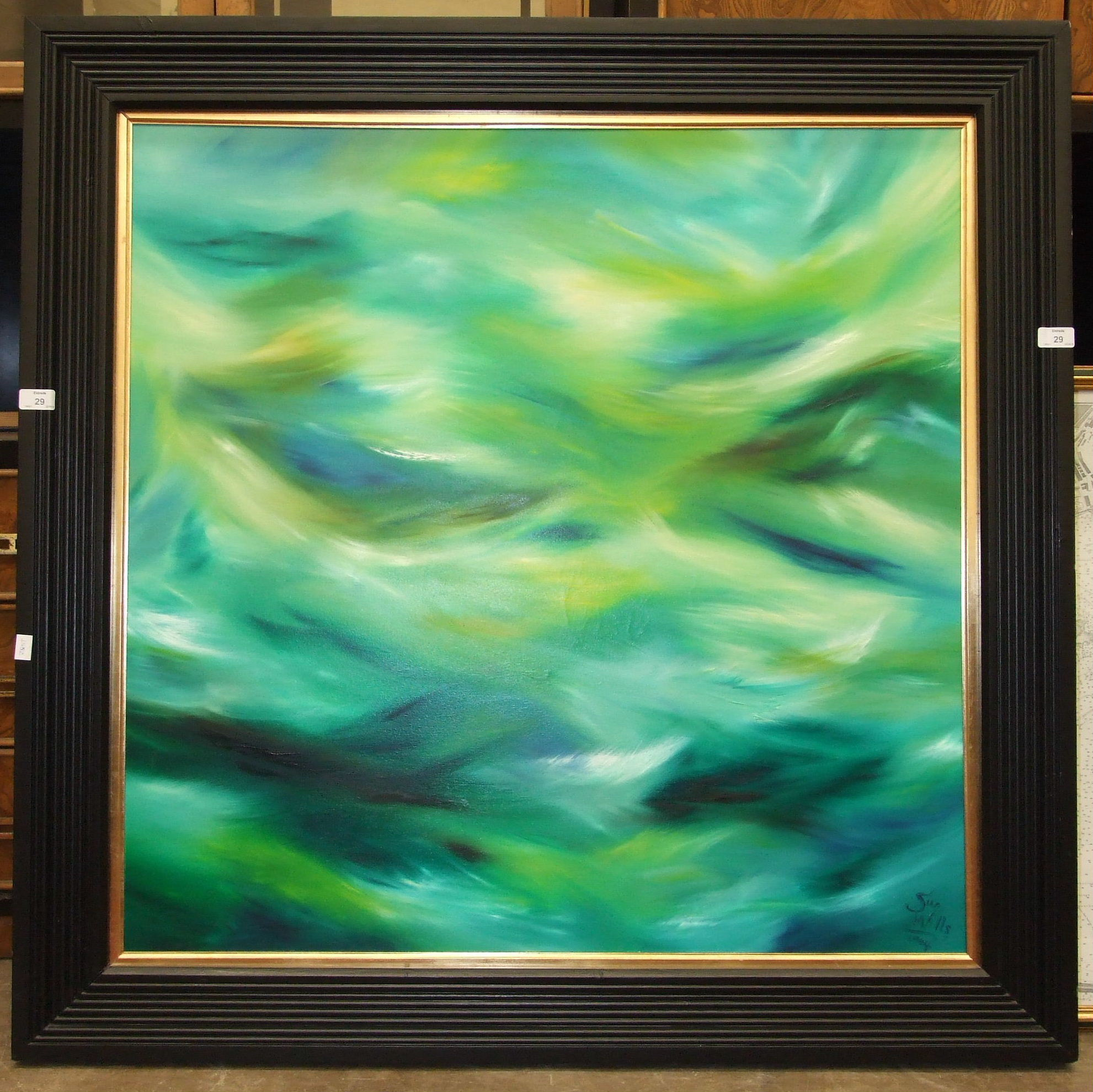 •Sue Wills (b. 1962) ABSTRACT, GREEN, BLUE, YELLOW, BLACK AND WHITE WAVES Signed oil on canvas,