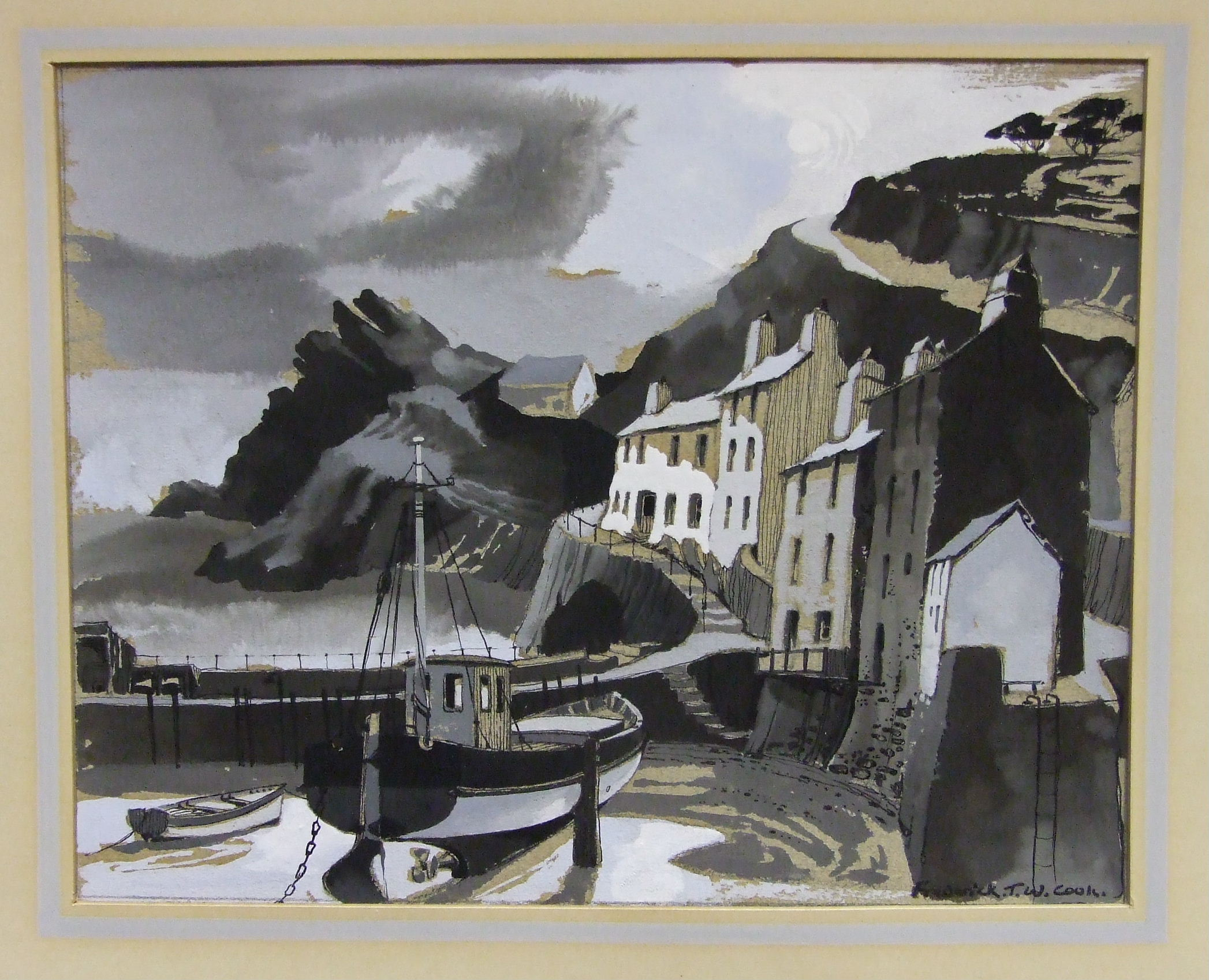 •Frederick J W Cook POLPERRO BY MOONLIGHT Signed watercolour, heightened in white, inscribed - Image 2 of 2