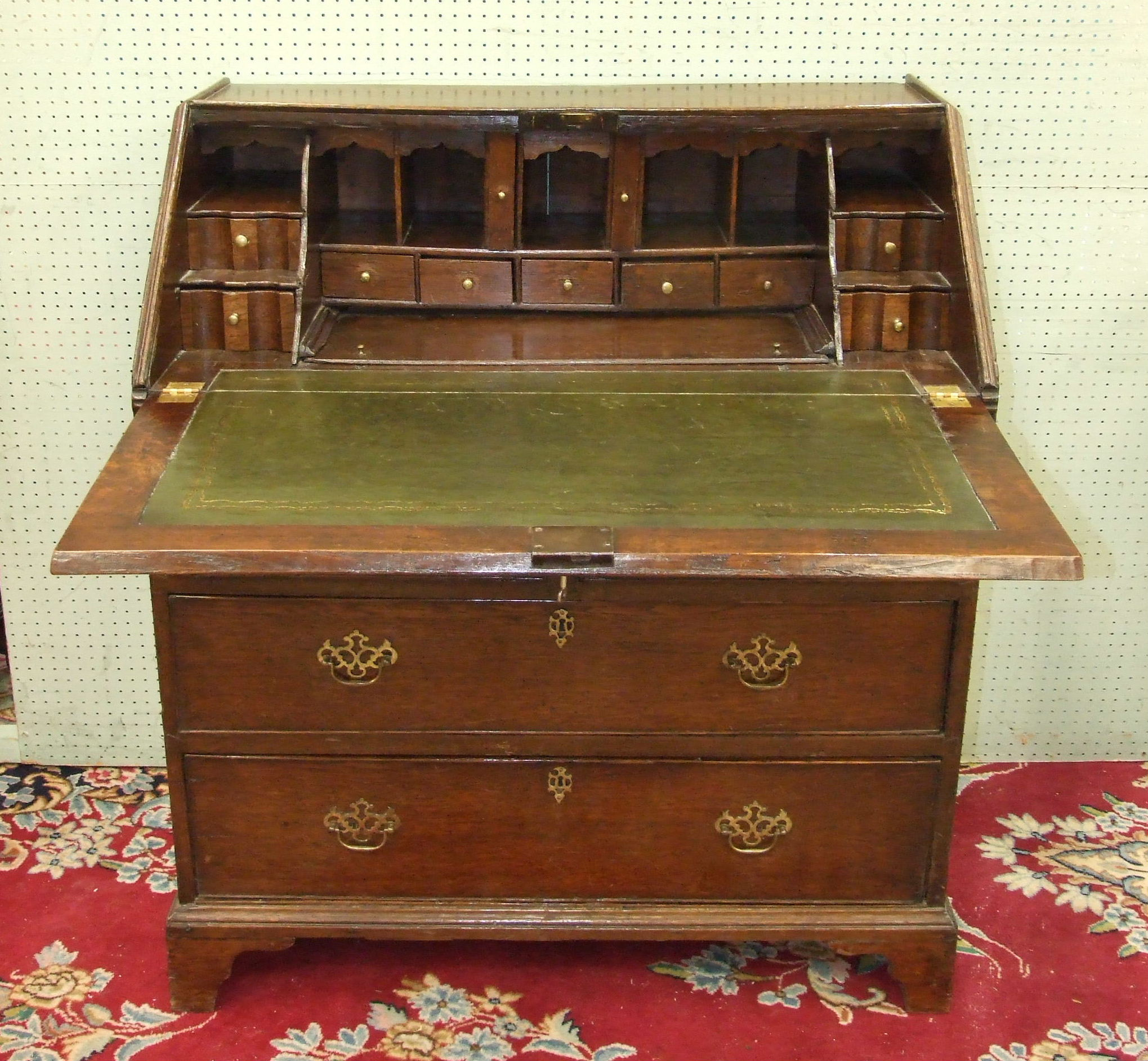 A 19th century oak bureau, the rectangular top above a fall front opening to reveal a fitted - Image 3 of 4