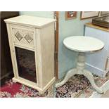 A small painted cupboard fitted with a single glazed door, 54cm wide, 91cm high and a painted