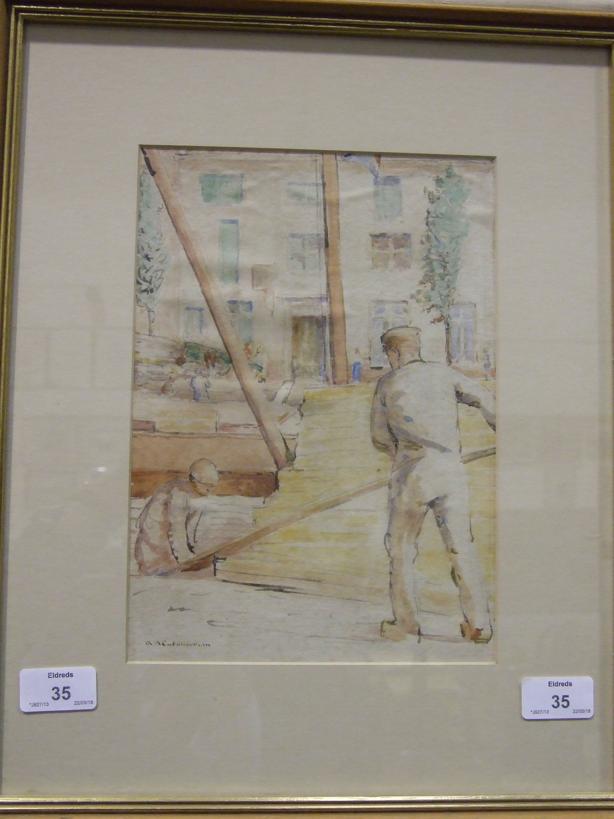W A Cuthbertson STUDY OF WORKMEN HANDLING PLANKS OF WOOD Signed watercolour, 27 x 19cm. - Image 2 of 2