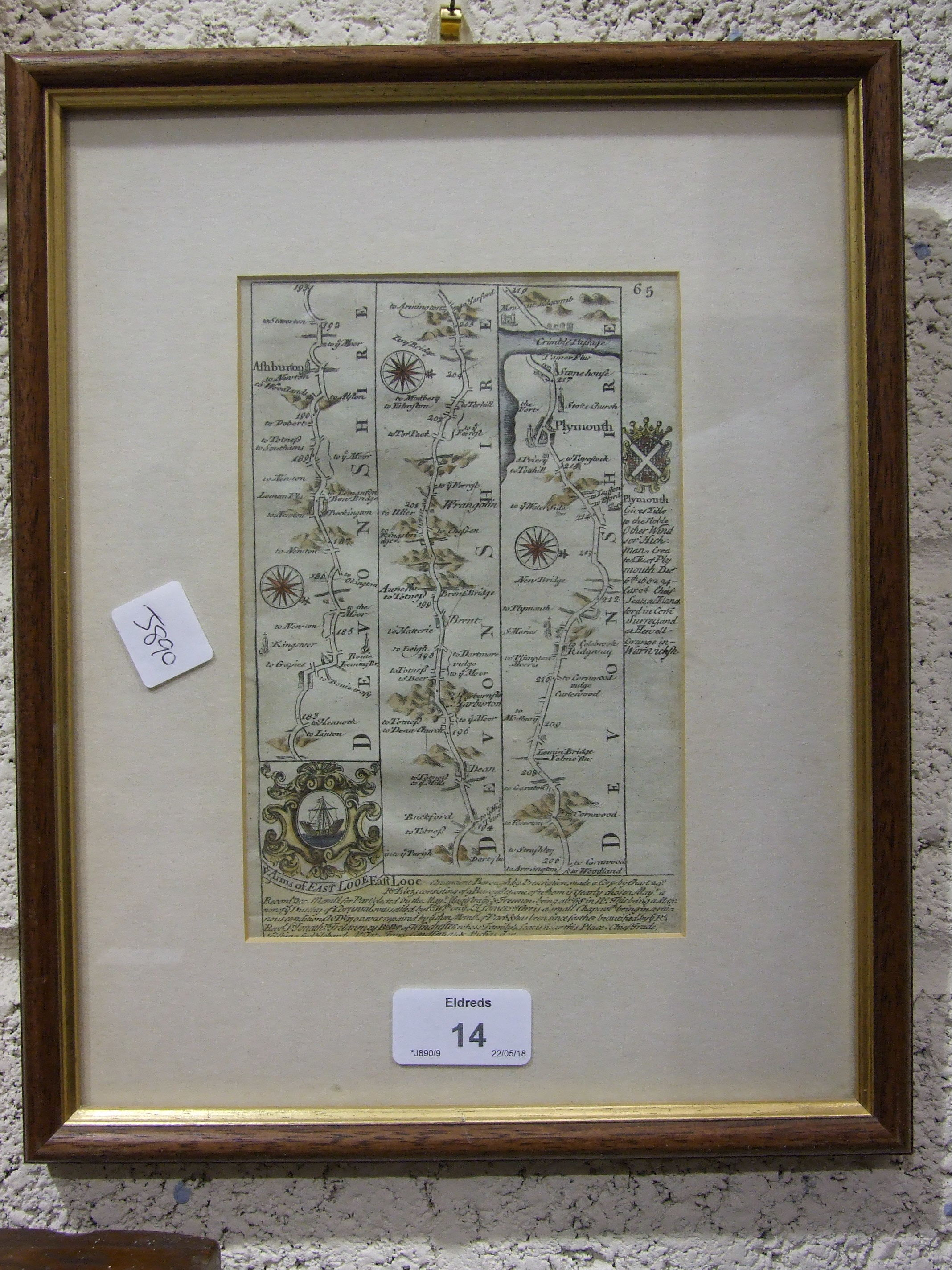 A 19th century map 'The Environs of Plymouth, Stonehouse and Devonport showing the Existing and - Image 2 of 2