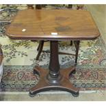 A 19th century mahogany occasional table, the rectangular top on turned column and quatrefoil