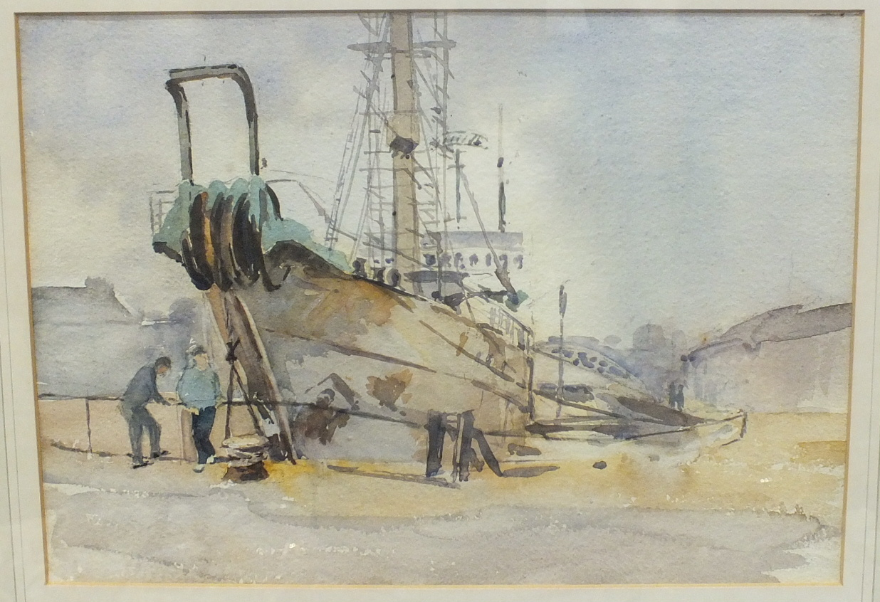 •Ernestine Symes-Saunders CABLE SHIP IN MILLBAY DOCKS Watercolour, signed, titled and dated 1960
