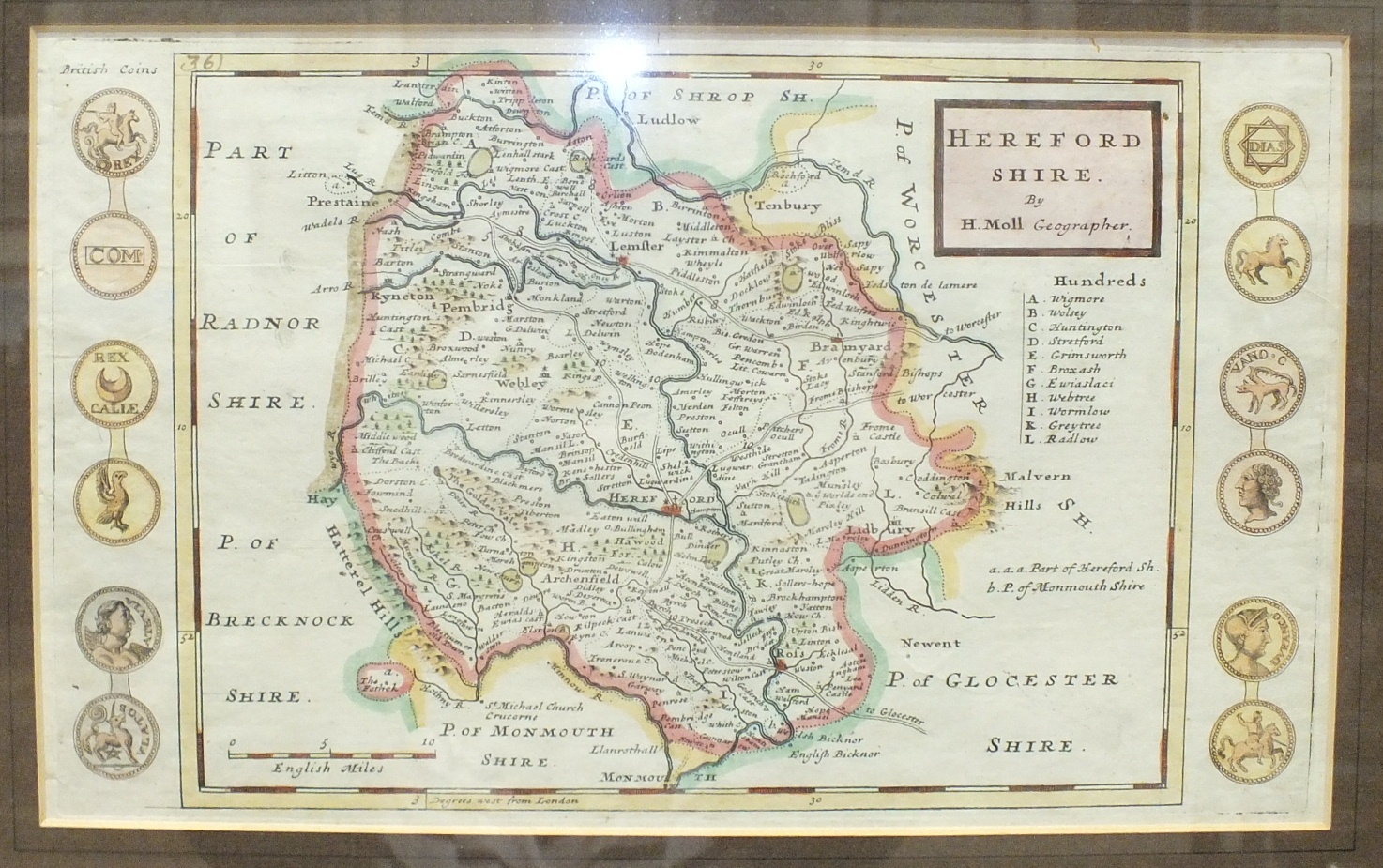 A Greenwood & Co. map of the County of Monmouth, hand-coloured, engraved Josiah Neele, published - Image 3 of 5