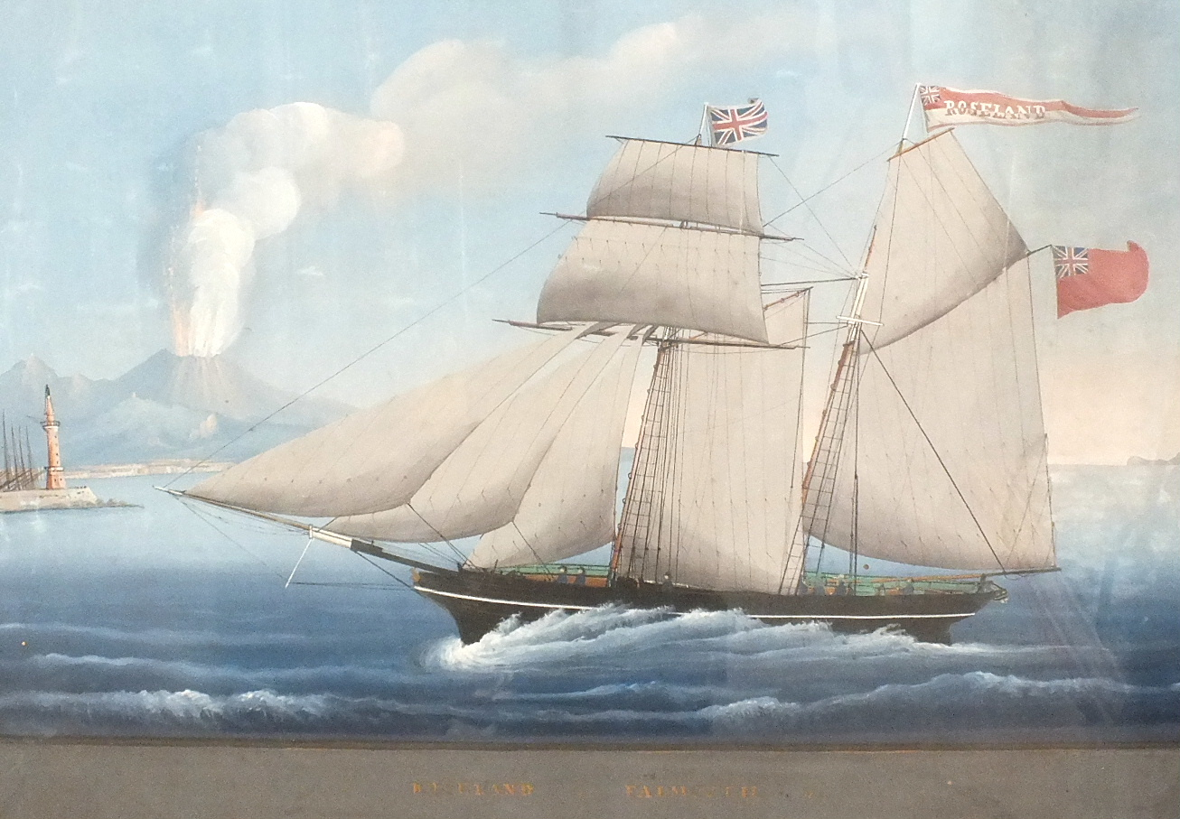 Neapolitan School ROSELAND OF FALMOUTH, TWO-MASTED GAFF-RIGGED SCHOONER FLYING PENNANT AND