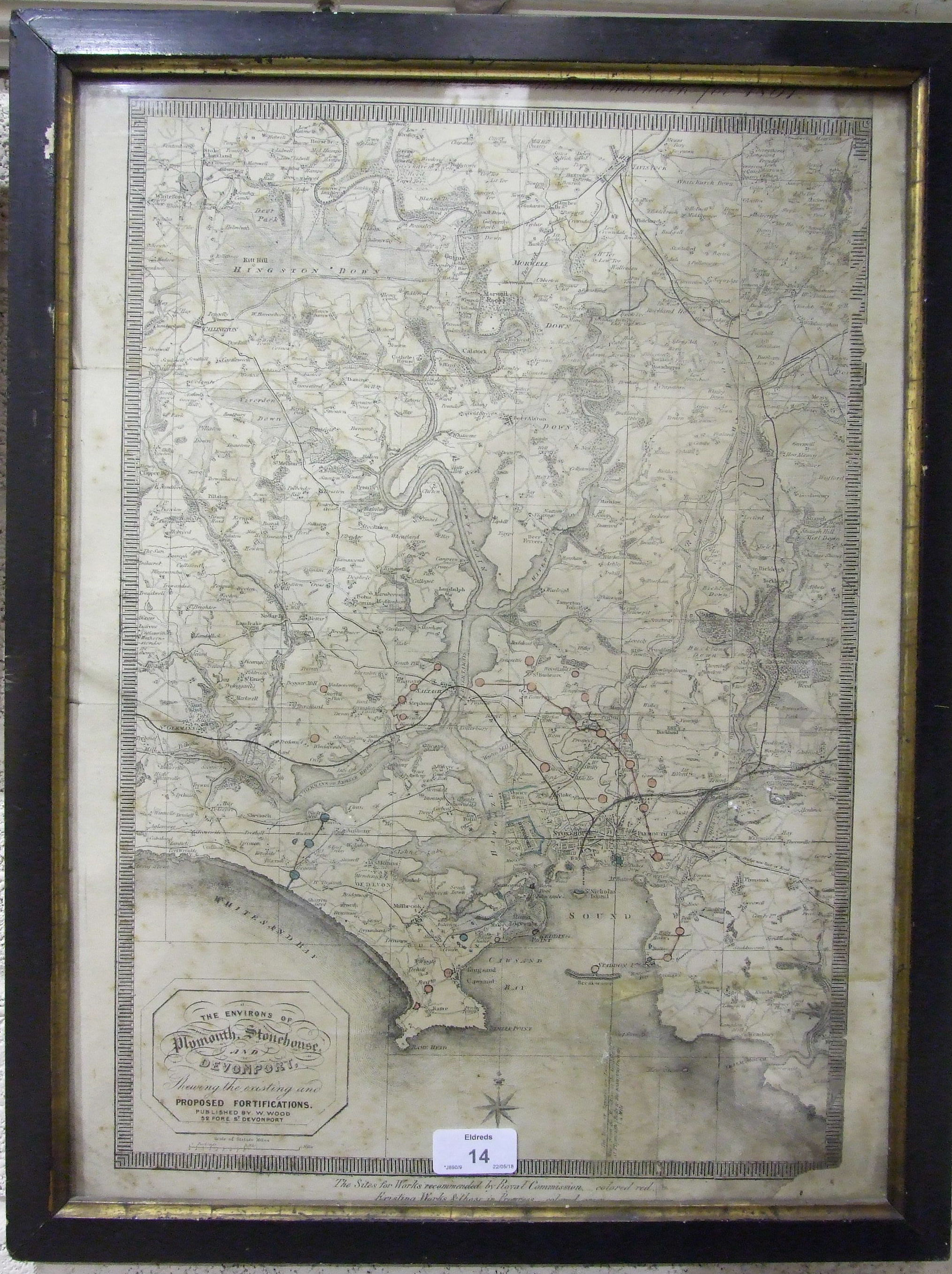A 19th century map 'The Environs of Plymouth, Stonehouse and Devonport showing the Existing and