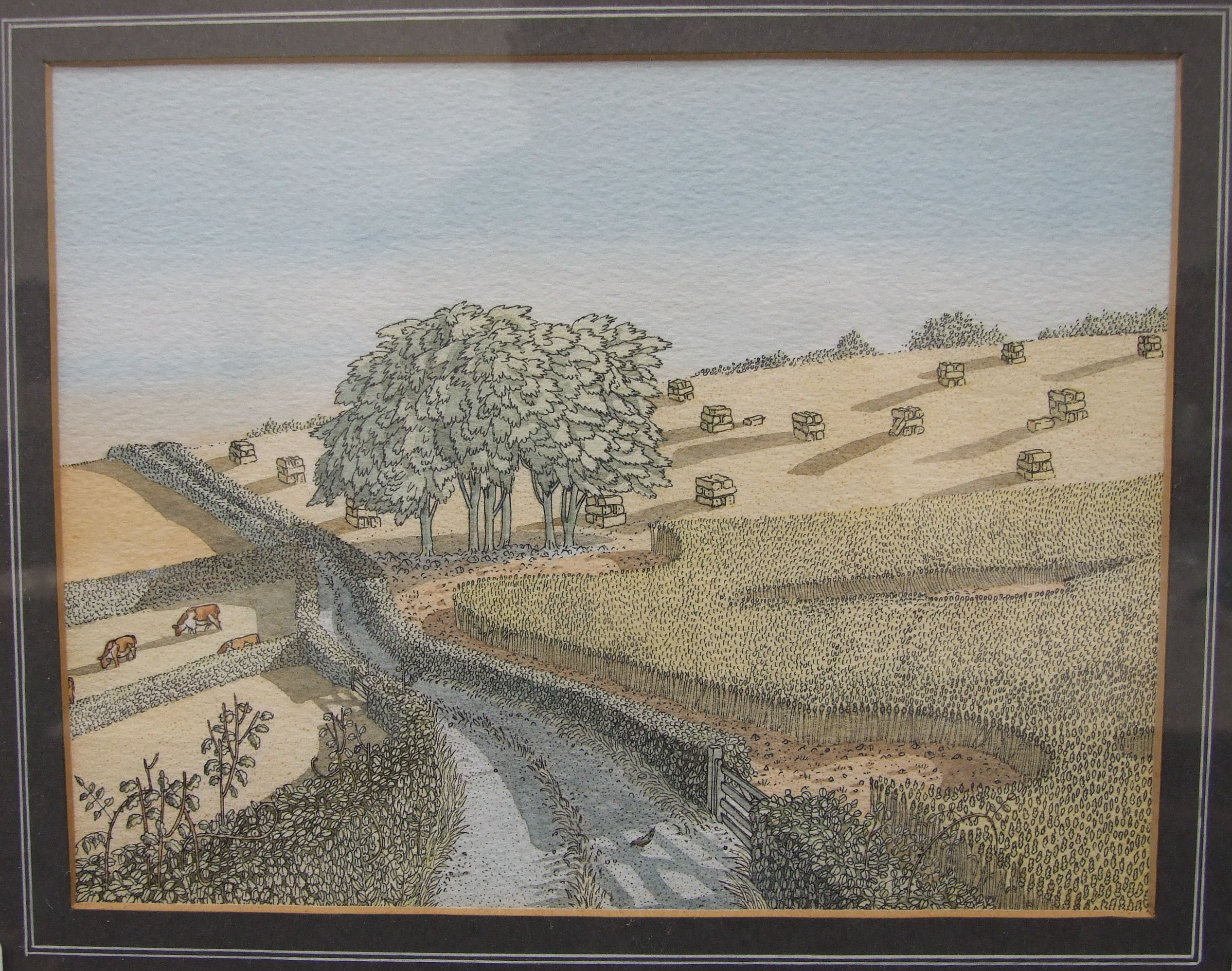•Benedict Blathwayt (b.1951, Author and Illustrator) CORNFIELDS, COUNTRY LANE AND CATTLE Pen, ink