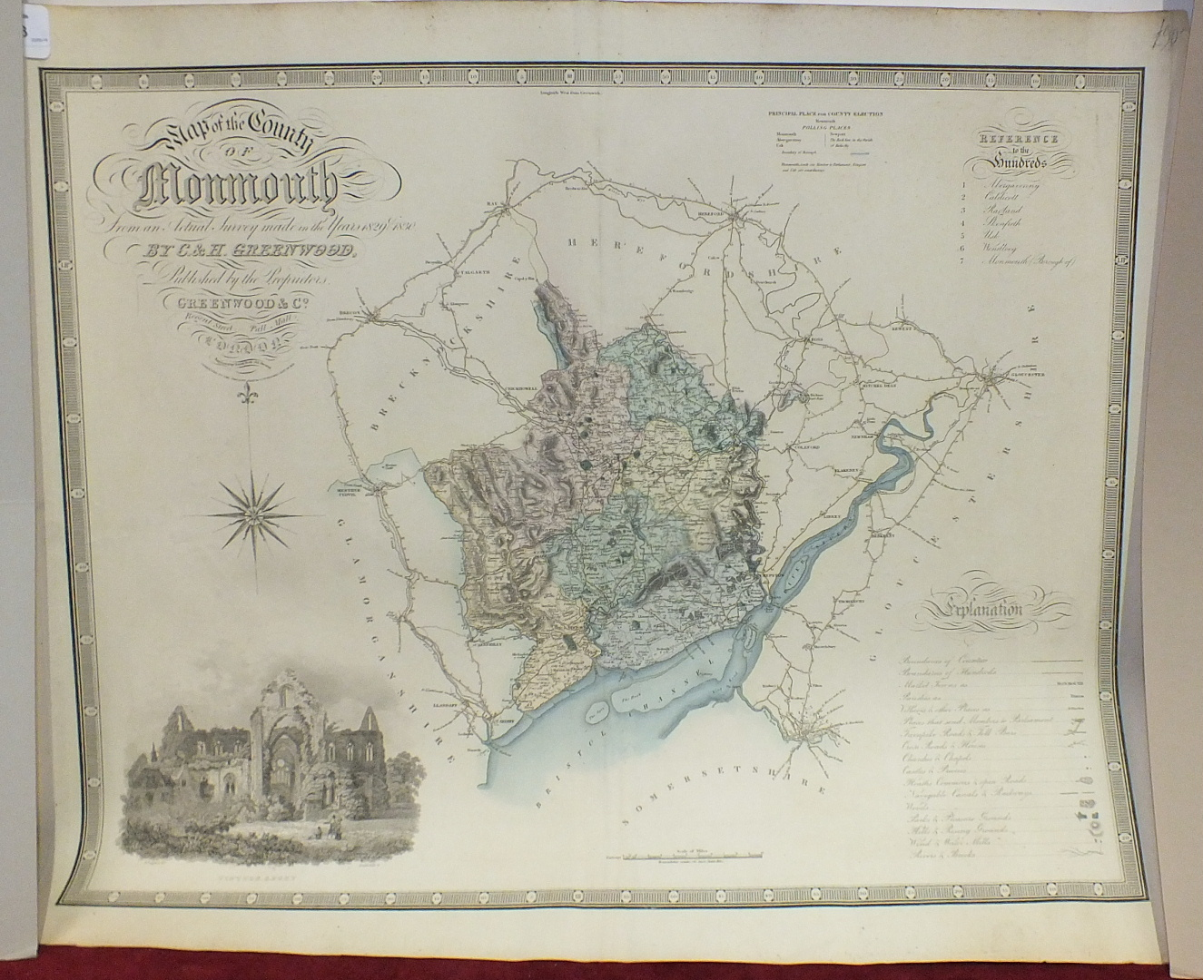 A Greenwood & Co. map of the County of Monmouth, hand-coloured, engraved Josiah Neele, published