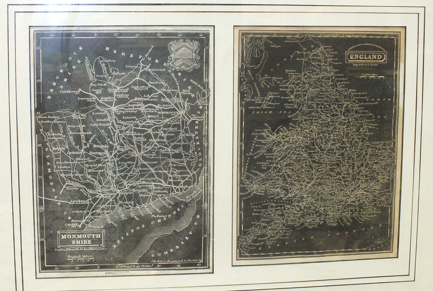 A Greenwood & Co. map of the County of Monmouth, hand-coloured, engraved Josiah Neele, published - Image 4 of 5