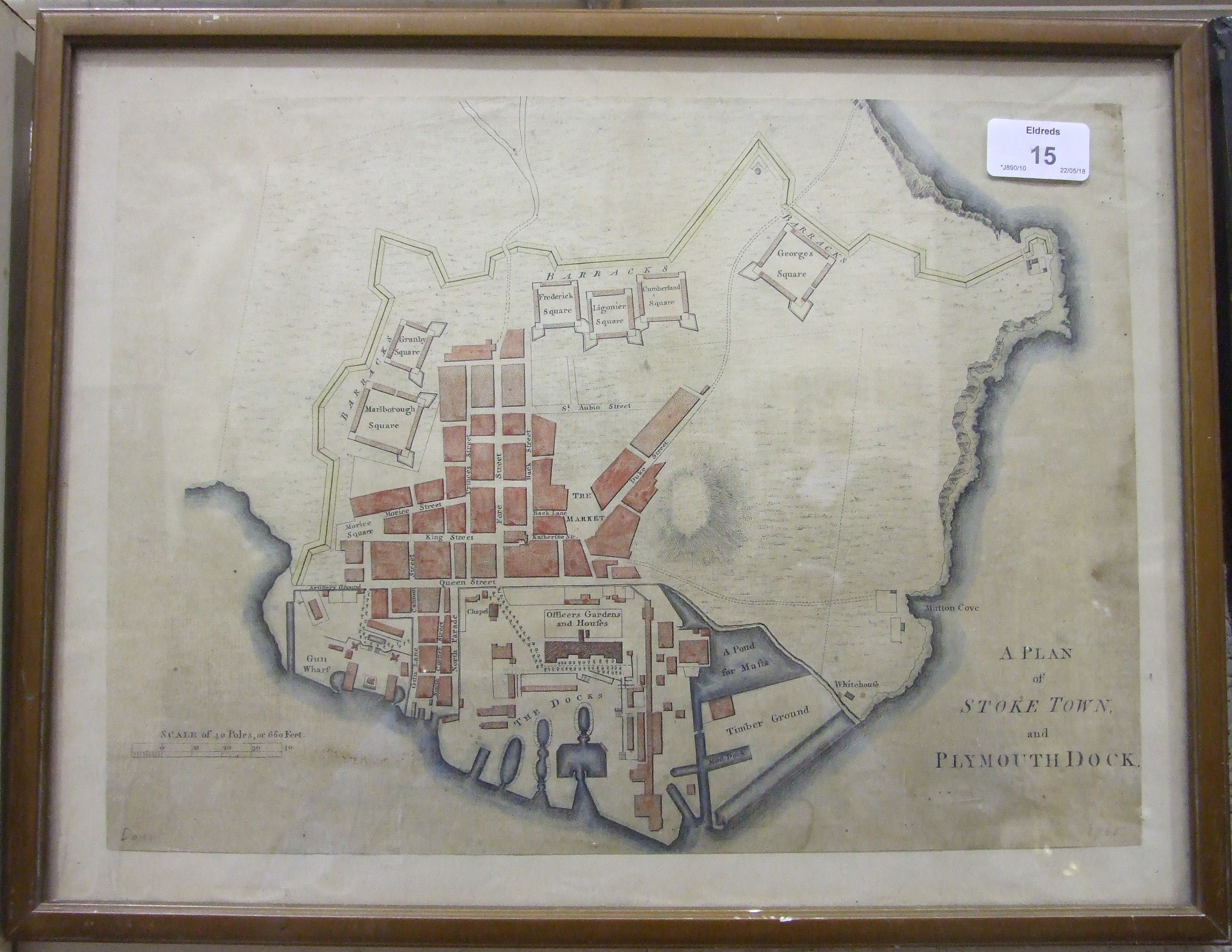 After Benjamin Donn, 'A plan of Stoke Town and Plymouth Dock', later hand-coloured, 26.5 x 37cm,