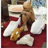 Two contemporary carved stone carp, 40cm and 36cm and other items.