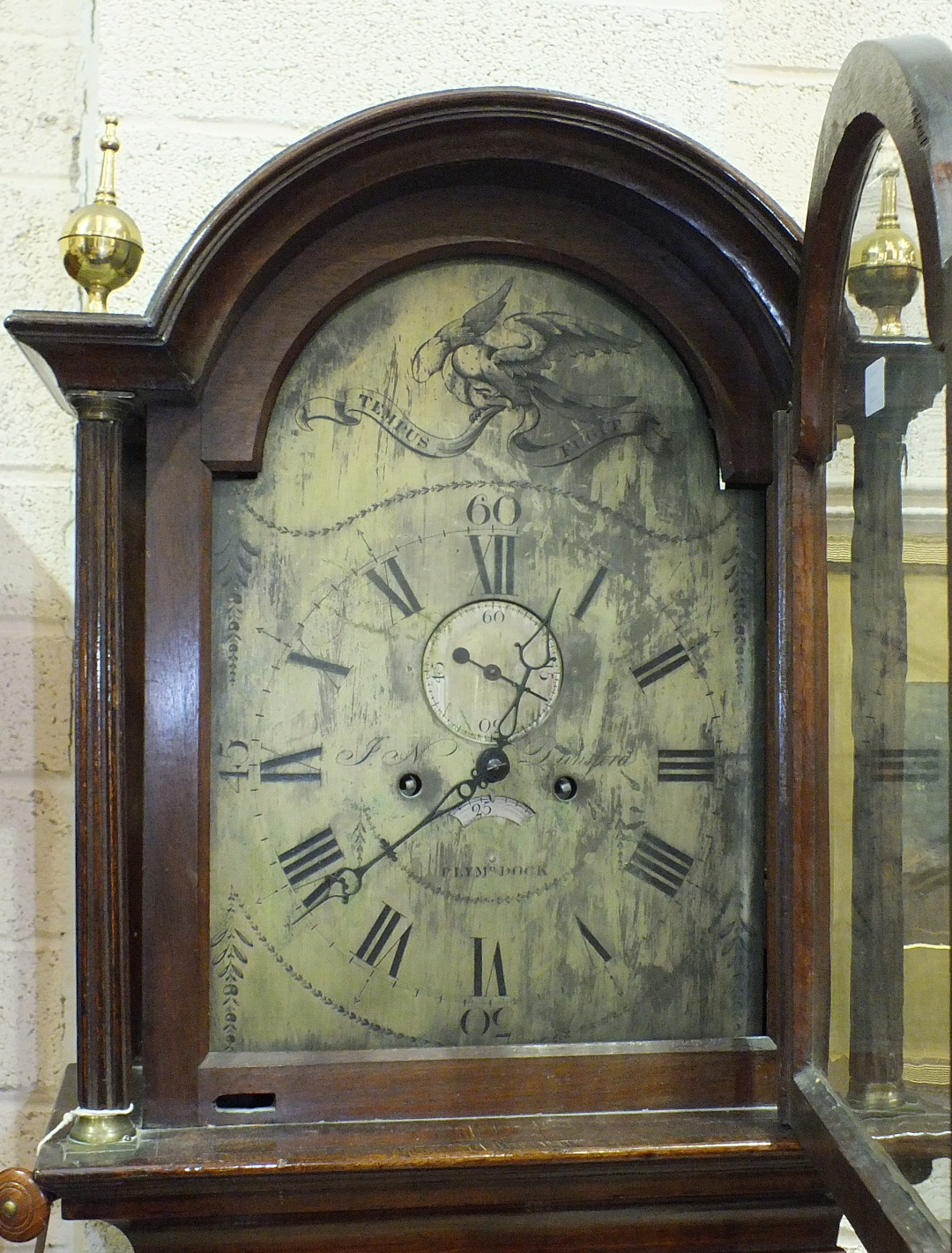 Jas N Dunsford, Plymouth Dock, an early-19th century 8-day long case clock, the arched silvered dial