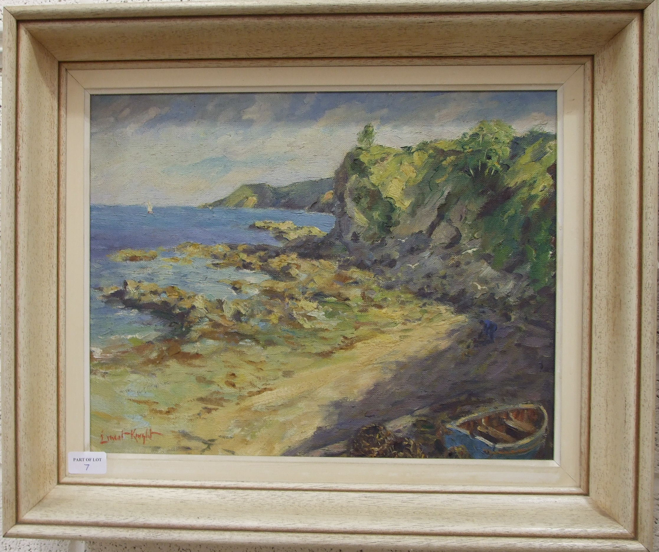 •Ernest Knight (1915-1995) COASTAL SCENE WITH BUILDING OVERLOOKING A ROCKY SHORE Signed oil on - Image 3 of 3