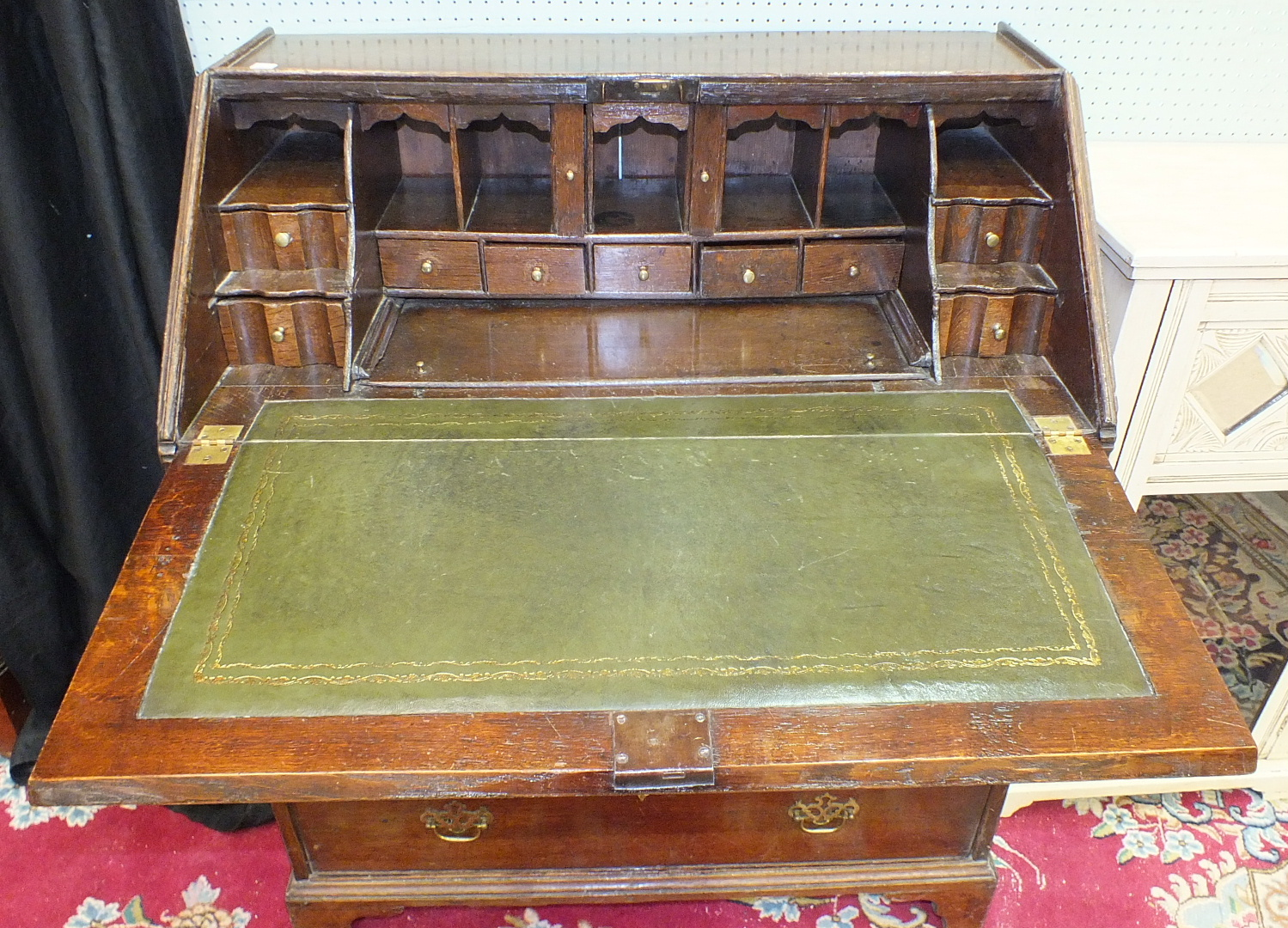 A 19th century oak bureau, the rectangular top above a fall front opening to reveal a fitted - Image 4 of 4