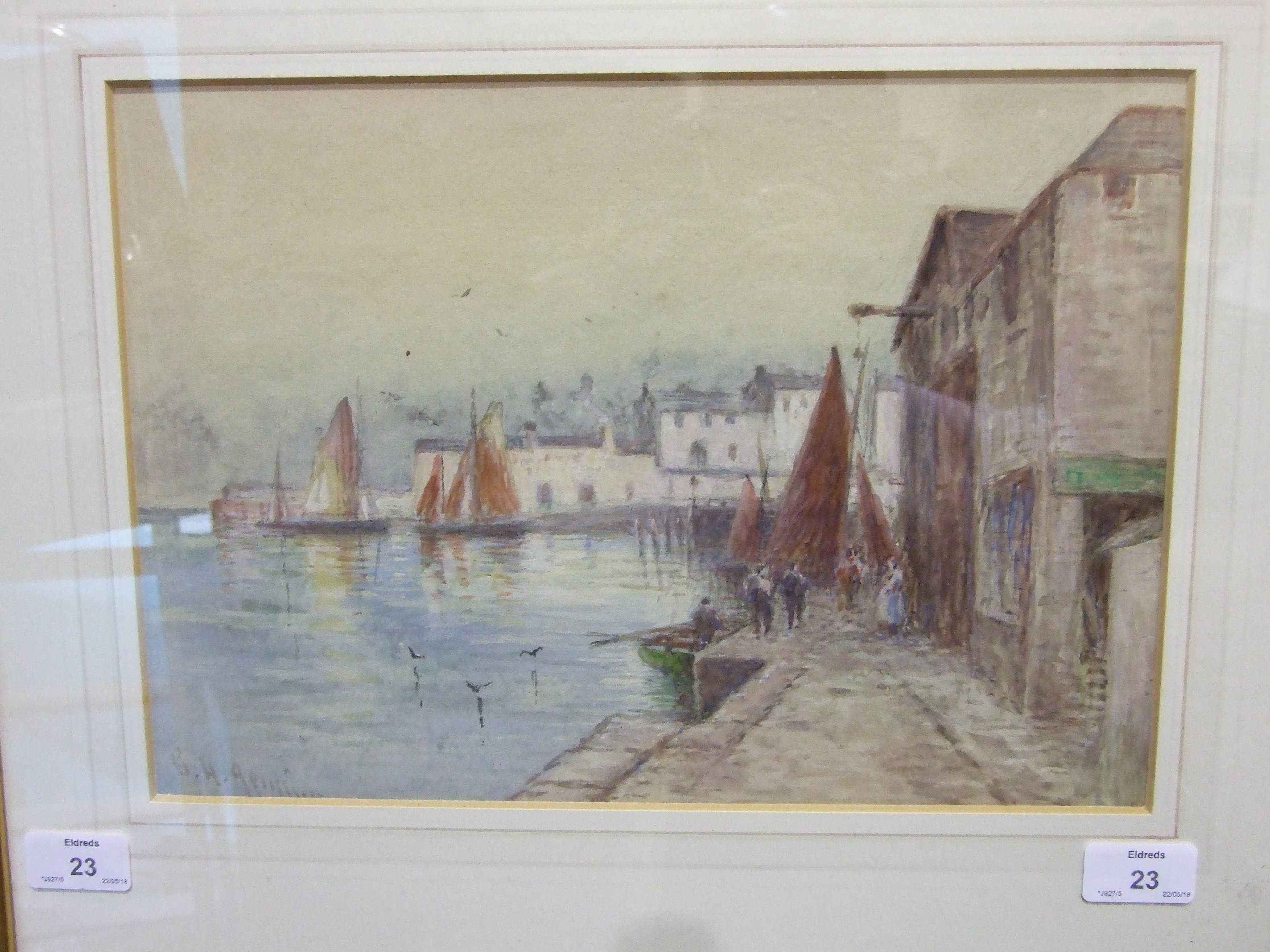 G H Jenkins (1843-1914) A CORNISH FISHING VILLAGE 1934, POSSIBLY NEWLYN Signed watercolour, 24.5 x