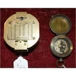 A Cavalry school brass compass by JH Steward, 5cm diameter and a brass hexagonal shape Natural