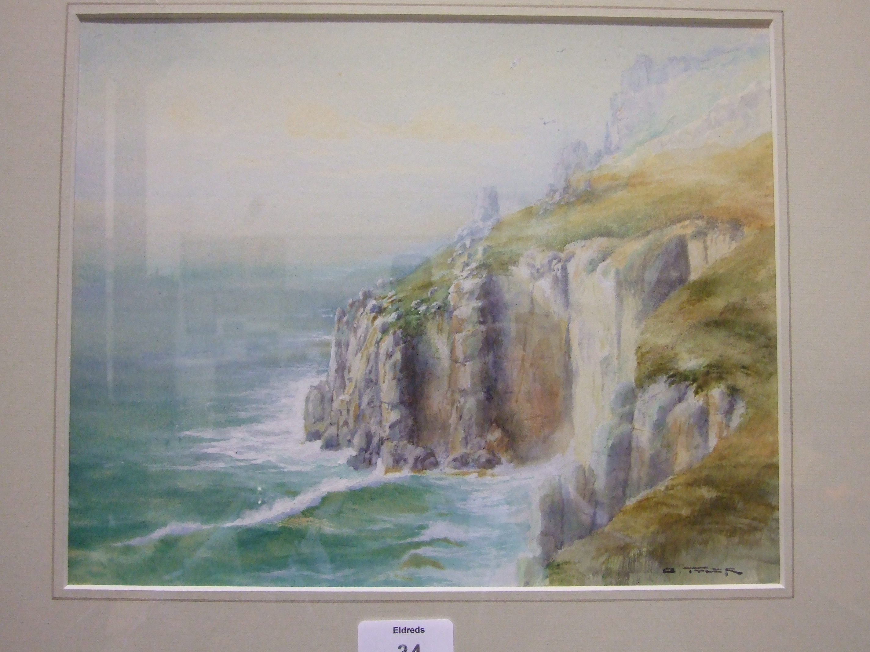A Tyler LAND'S END Signed watercolour, 23 x 29cm, R F Wadham, COASTAL SCENE, signed watercolour, - Image 3 of 5