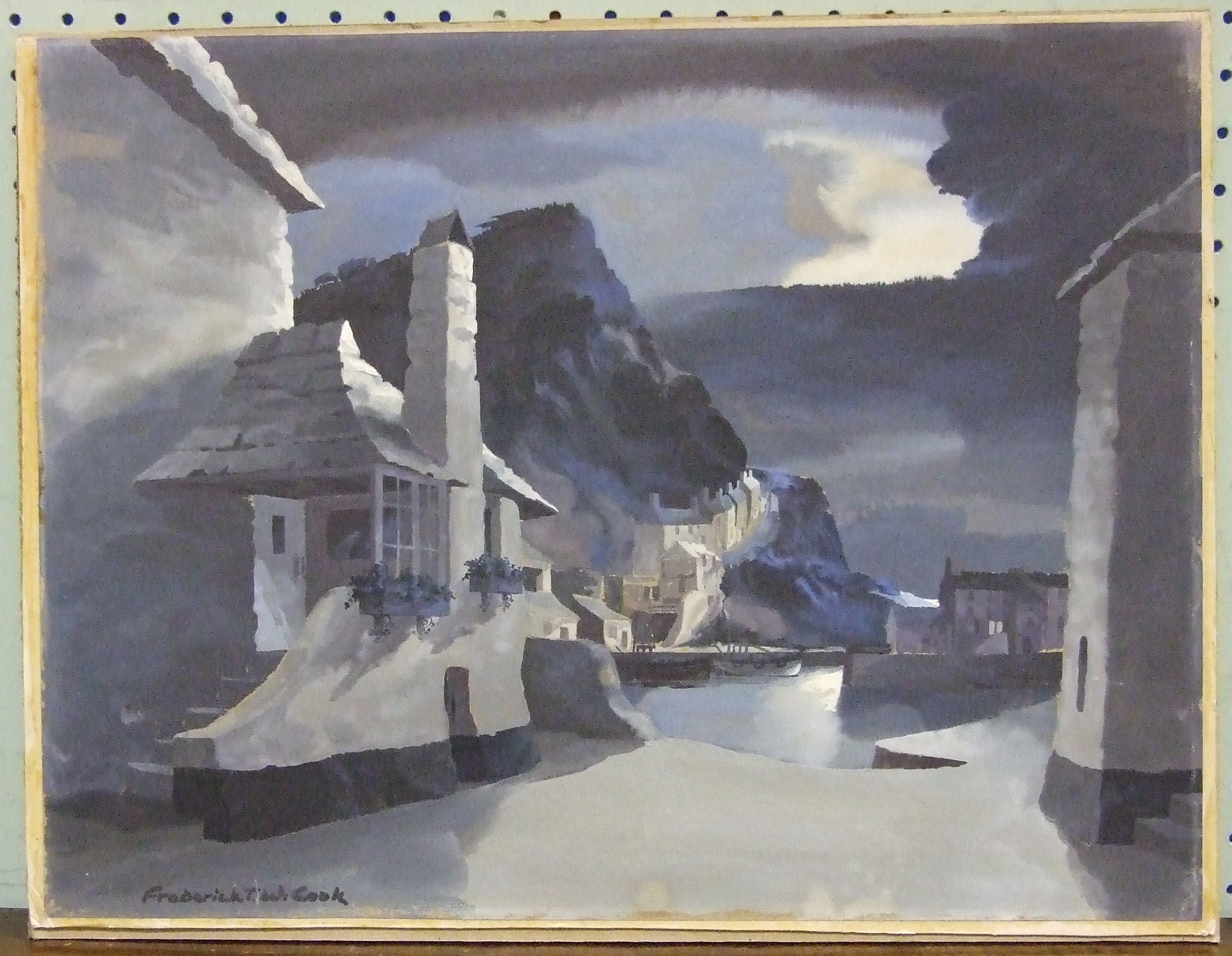 •Frederick J W Cook POLPERRO BY MOONLIGHT Signed watercolour, heightened in white, inscribed