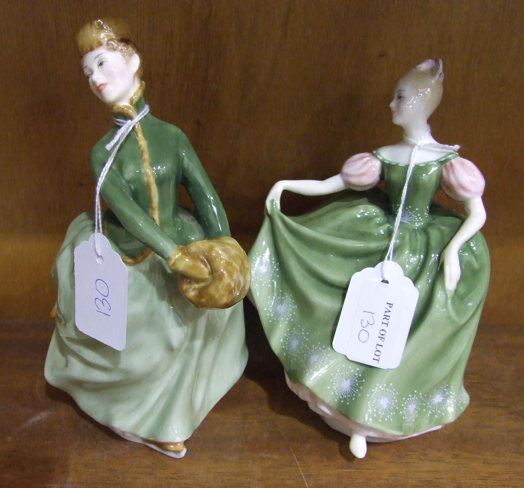 Lot 130 - Two Royal Doulton figurines, 'Michele' HN2234, 'Grace' HN2318, two Royal Doulton 'Bunnykins'