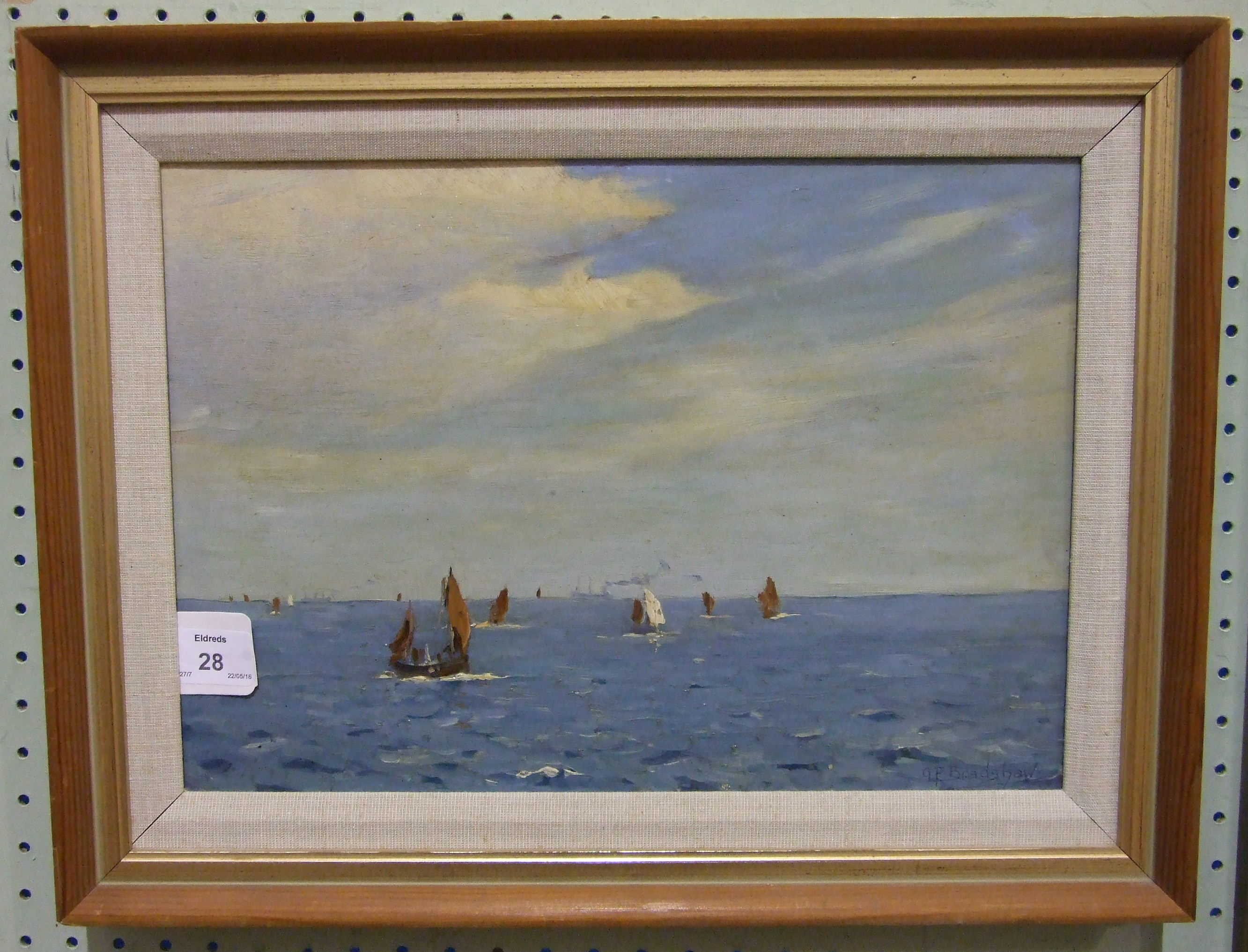 •George Fagan Bradshaw (1887-1960) FISHING BOATS AND VESSELS AT SEA Signed oil on board, 23.5 x - Image 2 of 3