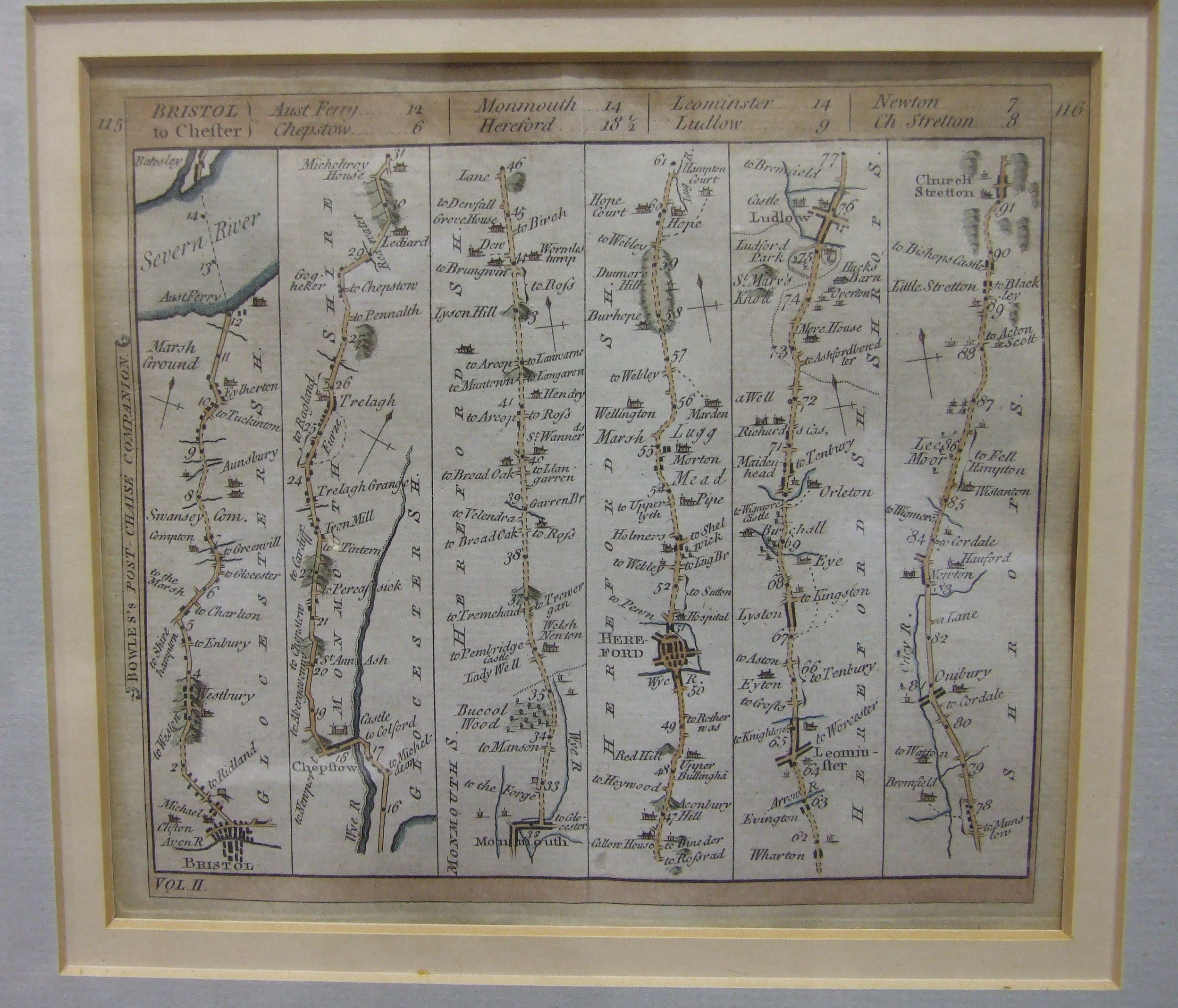 A John Ogilby road map, 'The Road from Bristol to Chester', 35 x 45cm, framed, a smaller road - Image 3 of 3