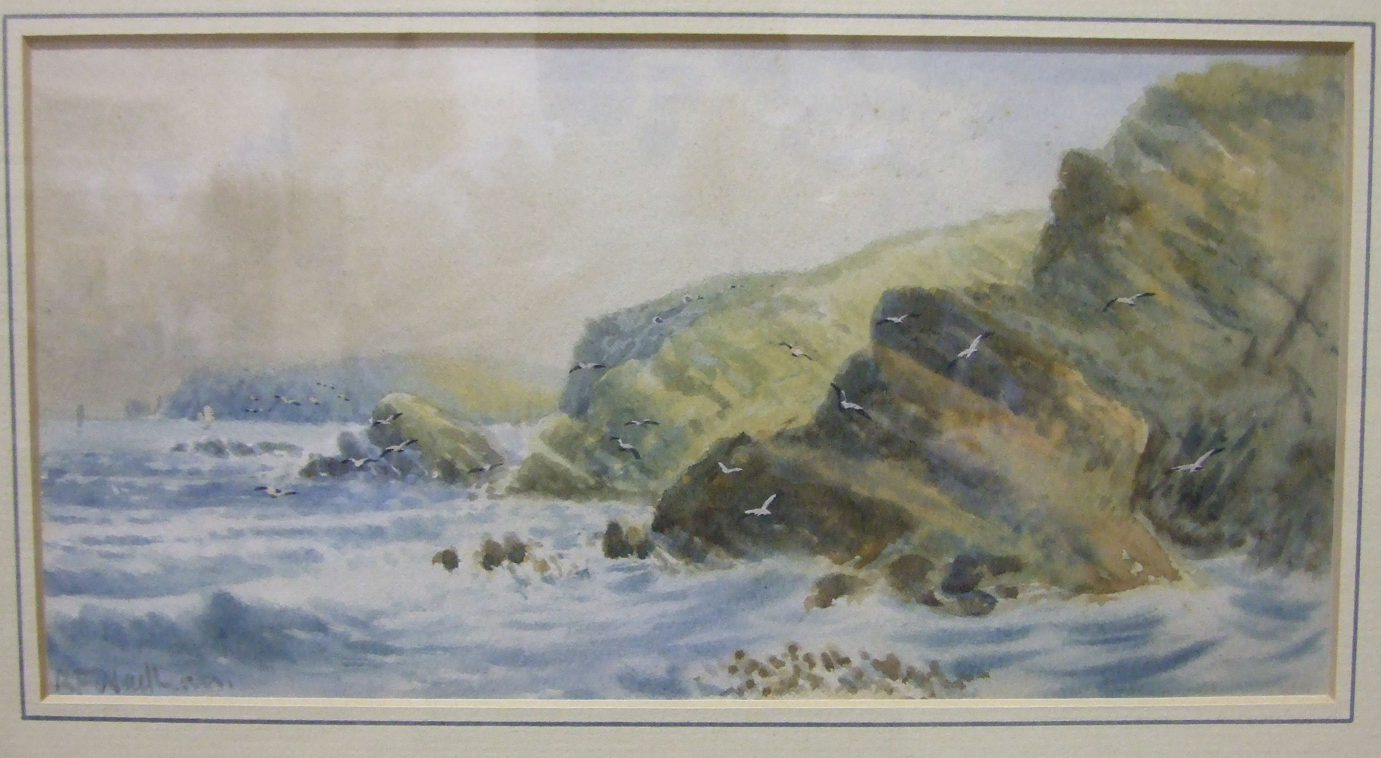 A Tyler LAND'S END Signed watercolour, 23 x 29cm, R F Wadham, COASTAL SCENE, signed watercolour,