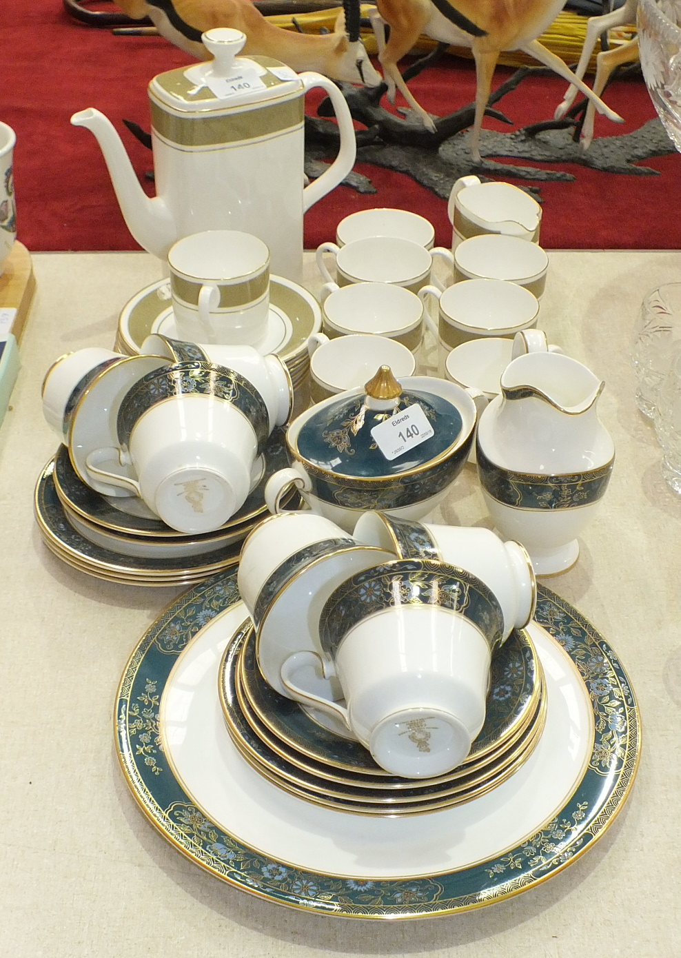 Lot 140 - Sixteen pieces of Royal Doulton 'Antique Gold' decorated coffee ware and nineteen pieces of Royal