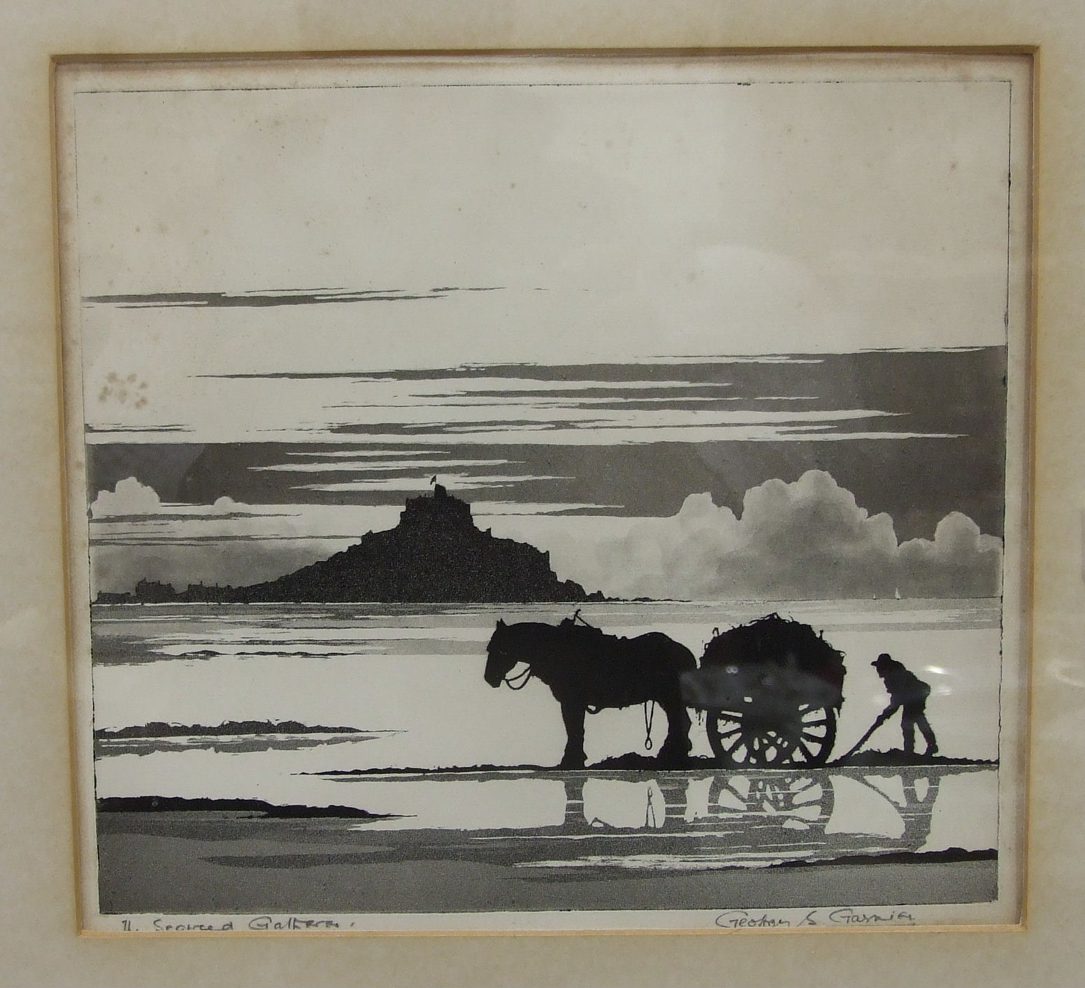 •After Geoffrey Sneyd Garnier (1889-1970), 'The seaweed gatherer', a signed and inscribed etching,