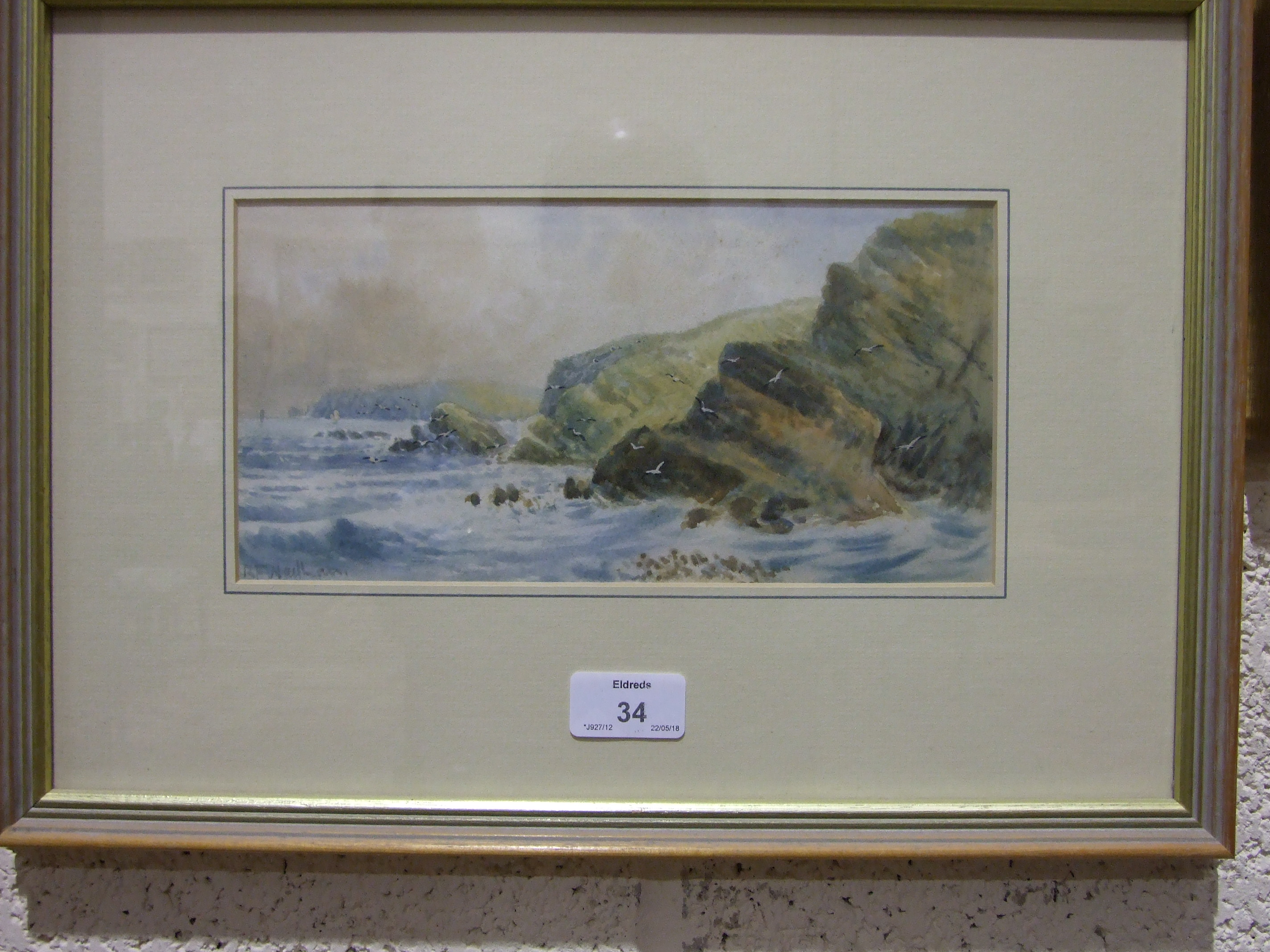 A Tyler LAND'S END Signed watercolour, 23 x 29cm, R F Wadham, COASTAL SCENE, signed watercolour, - Image 2 of 5