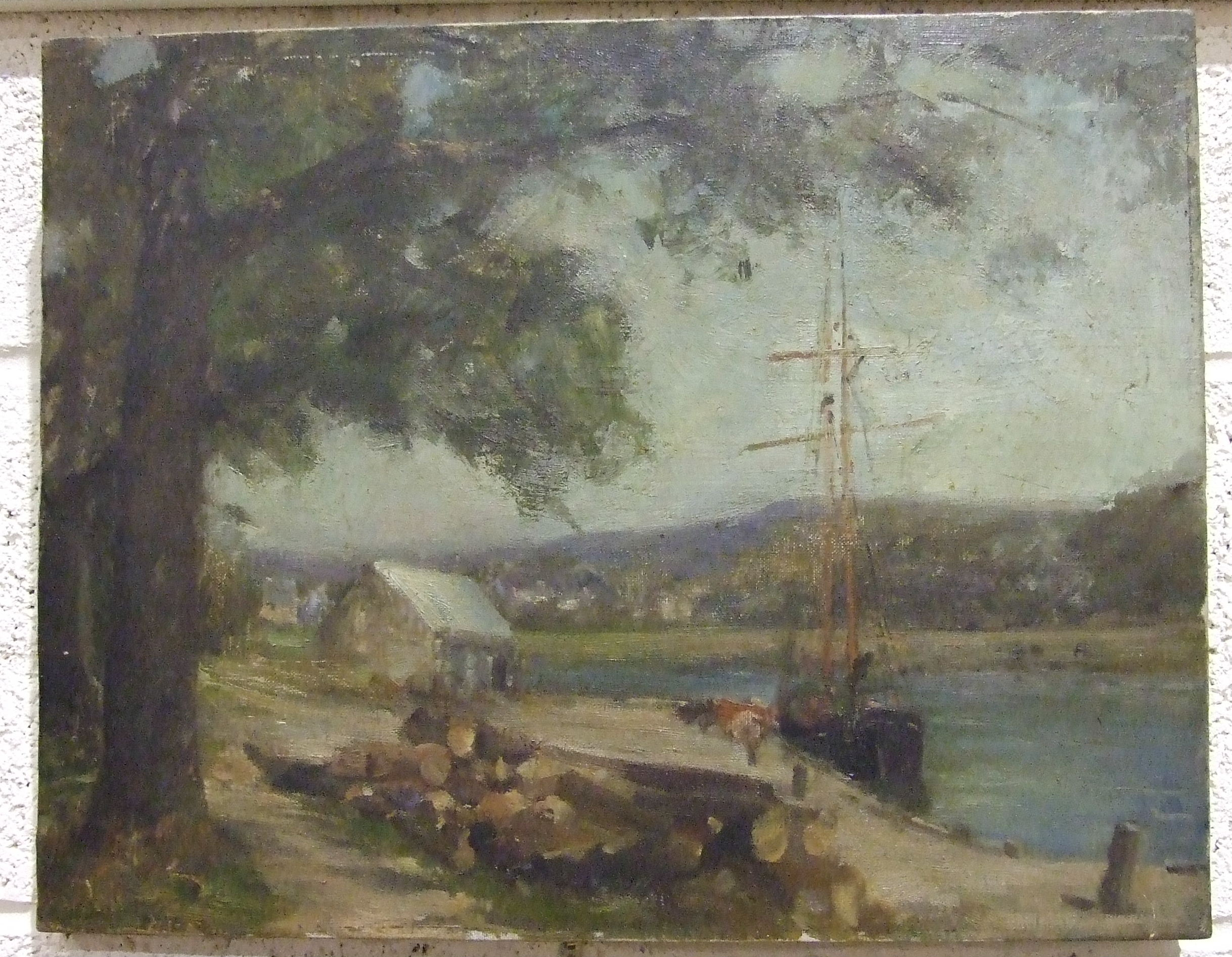 19th century Continental School A TWO-MASTED VESSEL MOORED AT A RIVER QUAY Unsigned oil on canvas,