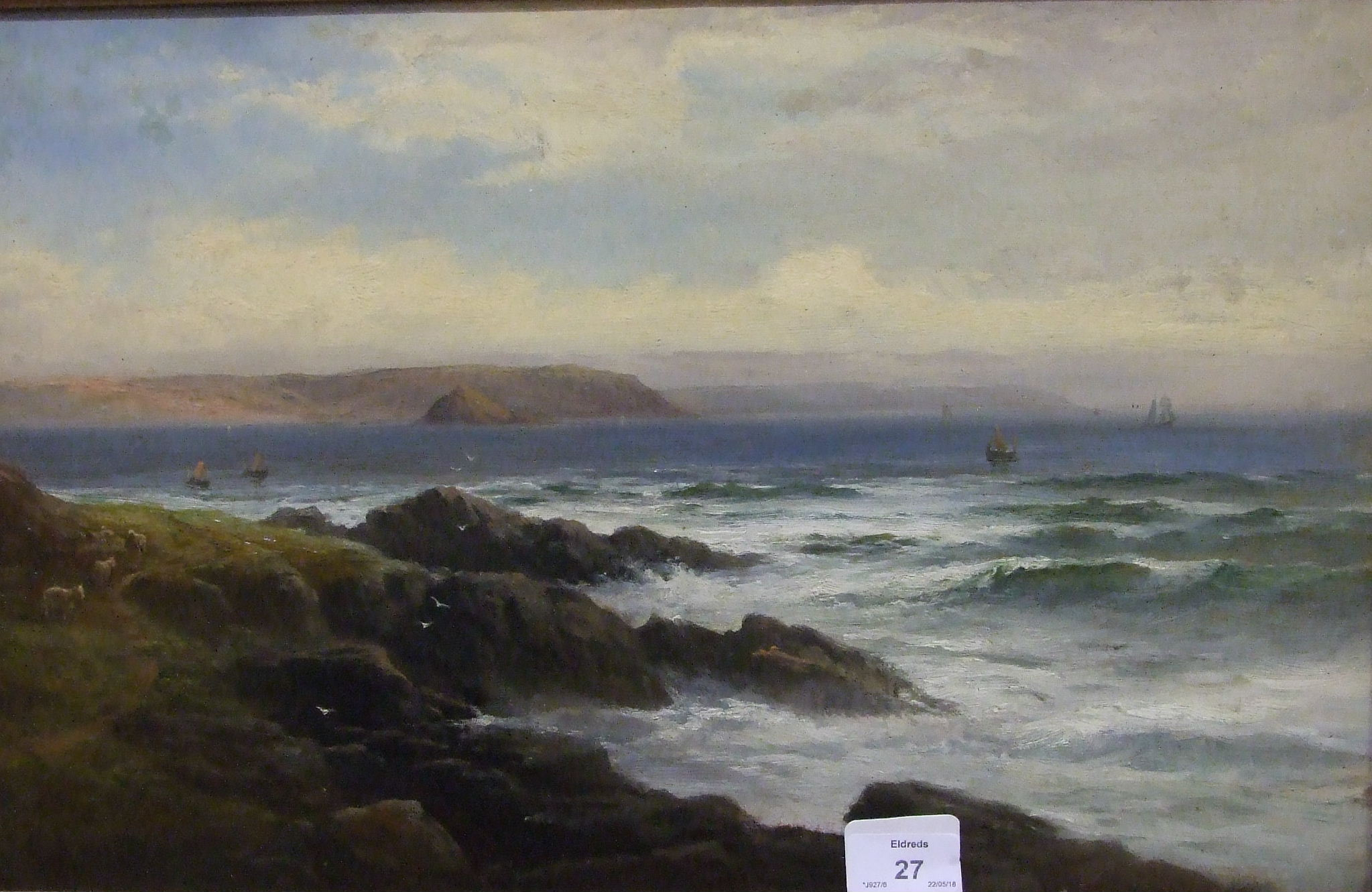 George Henry Jenkins (1843-1914) VIEW FROM RAME HEAD, WITH SHEEP ON COASTAL PATH Signed oil on