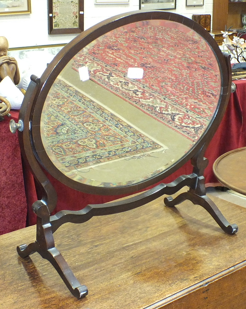 A Victorian walnut octagonal sewing table on carved tripod supports and a 20th century mahogany oval - Image 2 of 2