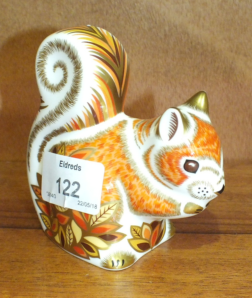 Lot 122 - A Royal Crown Derby porcelain paperweight 'Autumn Squirrel', gold stopper, 10cm high.