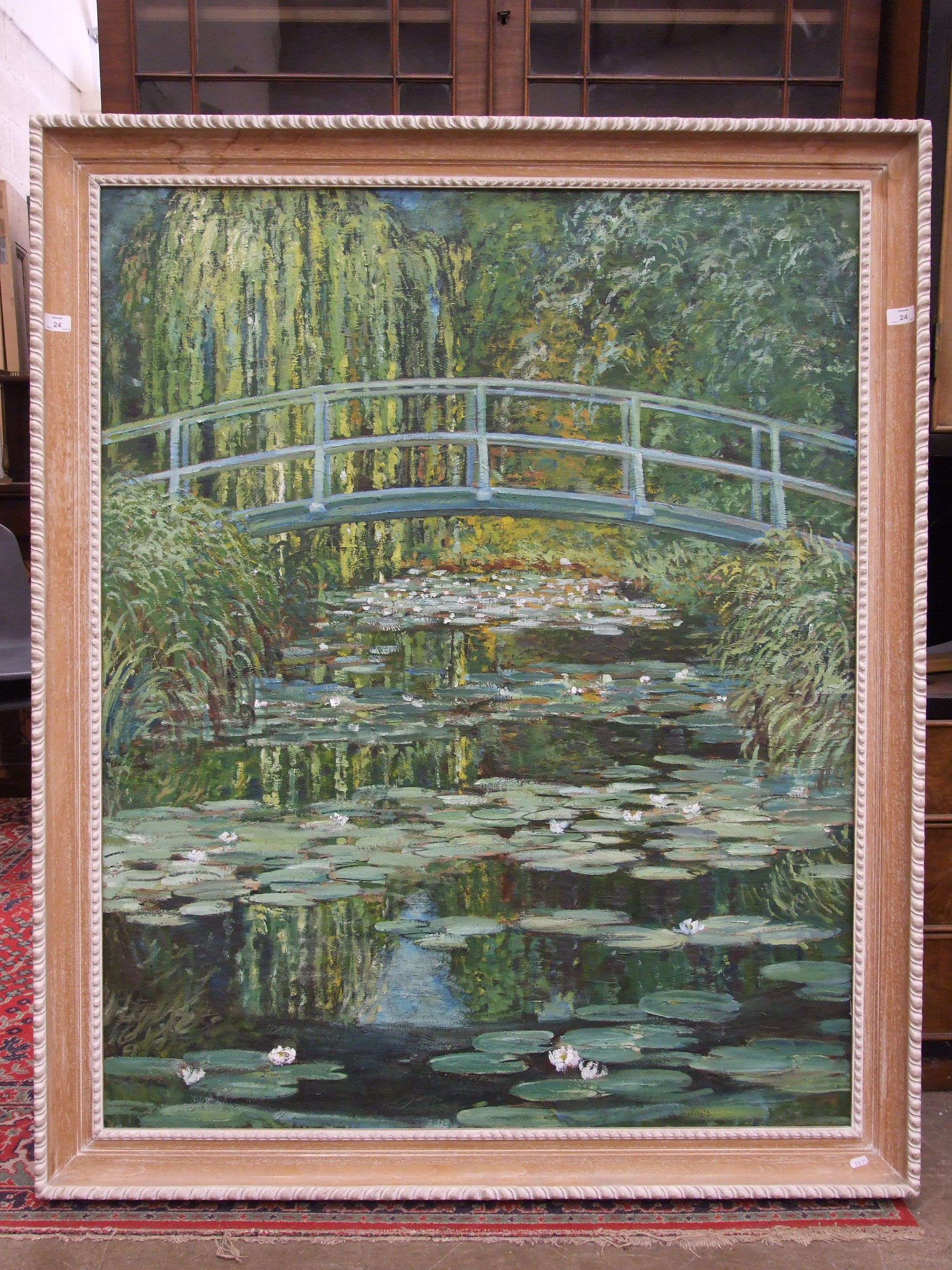 Unsigned copy MONET'S BRIDGE OVER A POND OF LILLIES Oil on board, 127 x 100cm. - Image 2 of 2