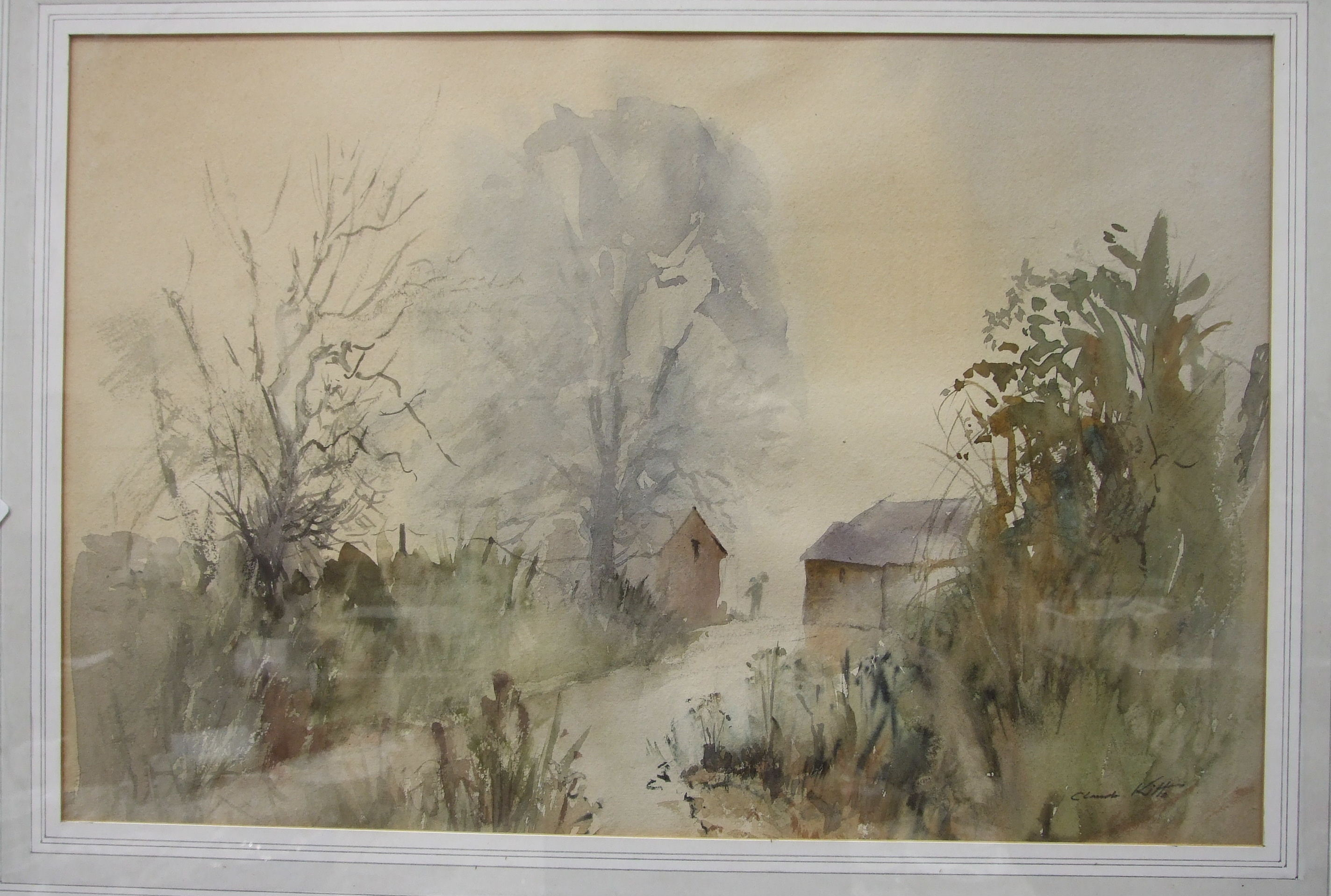 •Claude Kitto TREWURGY FARM, DULOE, NR LOOE Signed watercolour, titled label verso, 31.5 x 48cm - Image 3 of 4