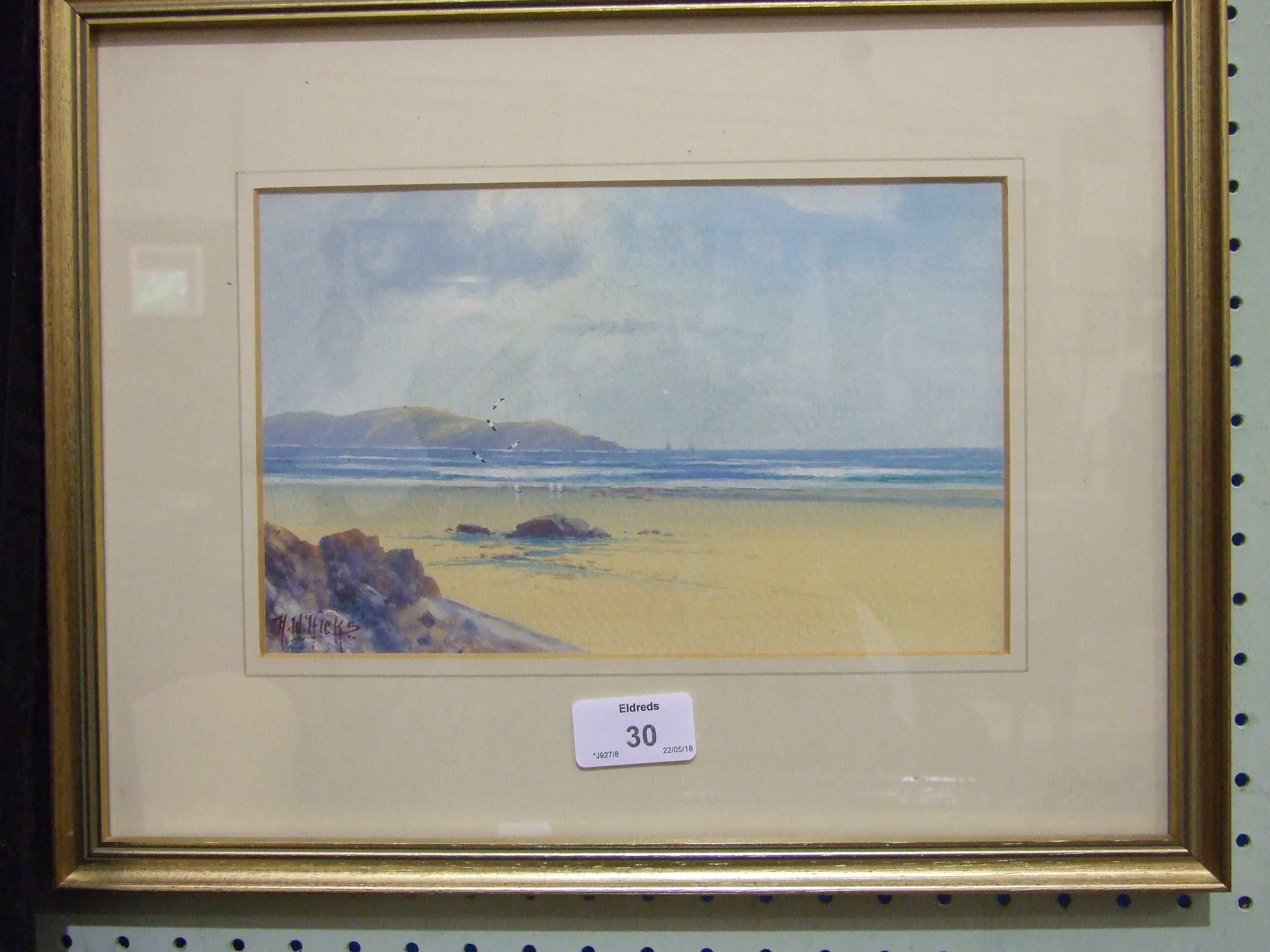 Herbert William Hicks (1880-1944) THE BREAKWATER, BUDE Signed watercolour heightened with white, - Image 3 of 3
