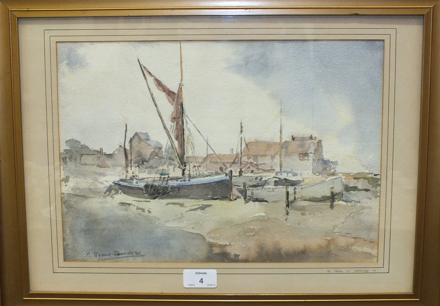 •Ernestine Symes-Saunders CABLE SHIP IN MILLBAY DOCKS Watercolour, signed, titled and dated 1960 - Image 2 of 3