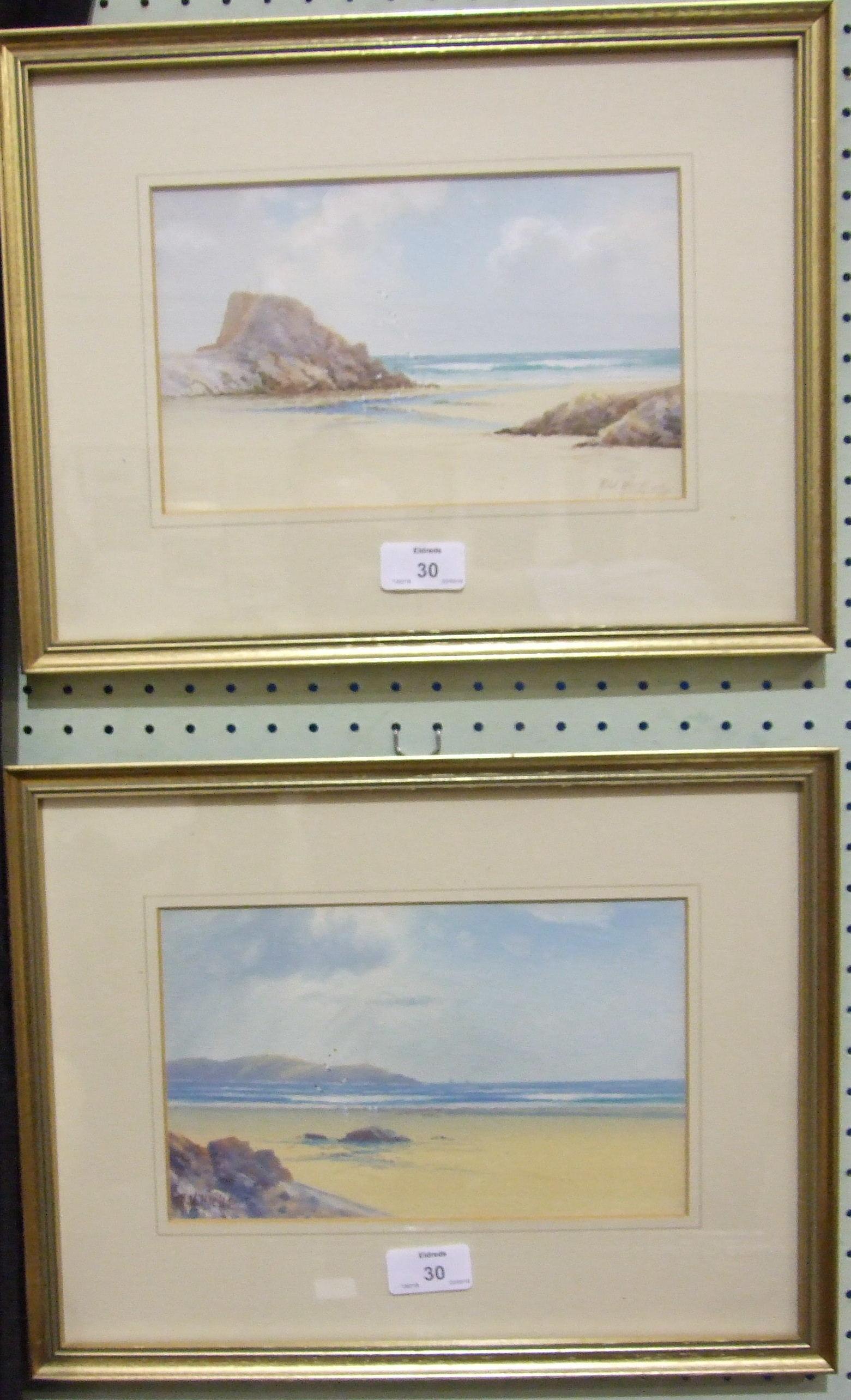 Herbert William Hicks (1880-1944) THE BREAKWATER, BUDE Signed watercolour heightened with white,