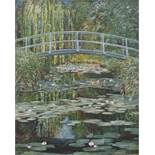 Unsigned copy MONET'S BRIDGE OVER A POND OF LILLIES Oil on board, 127 x 100cm.
