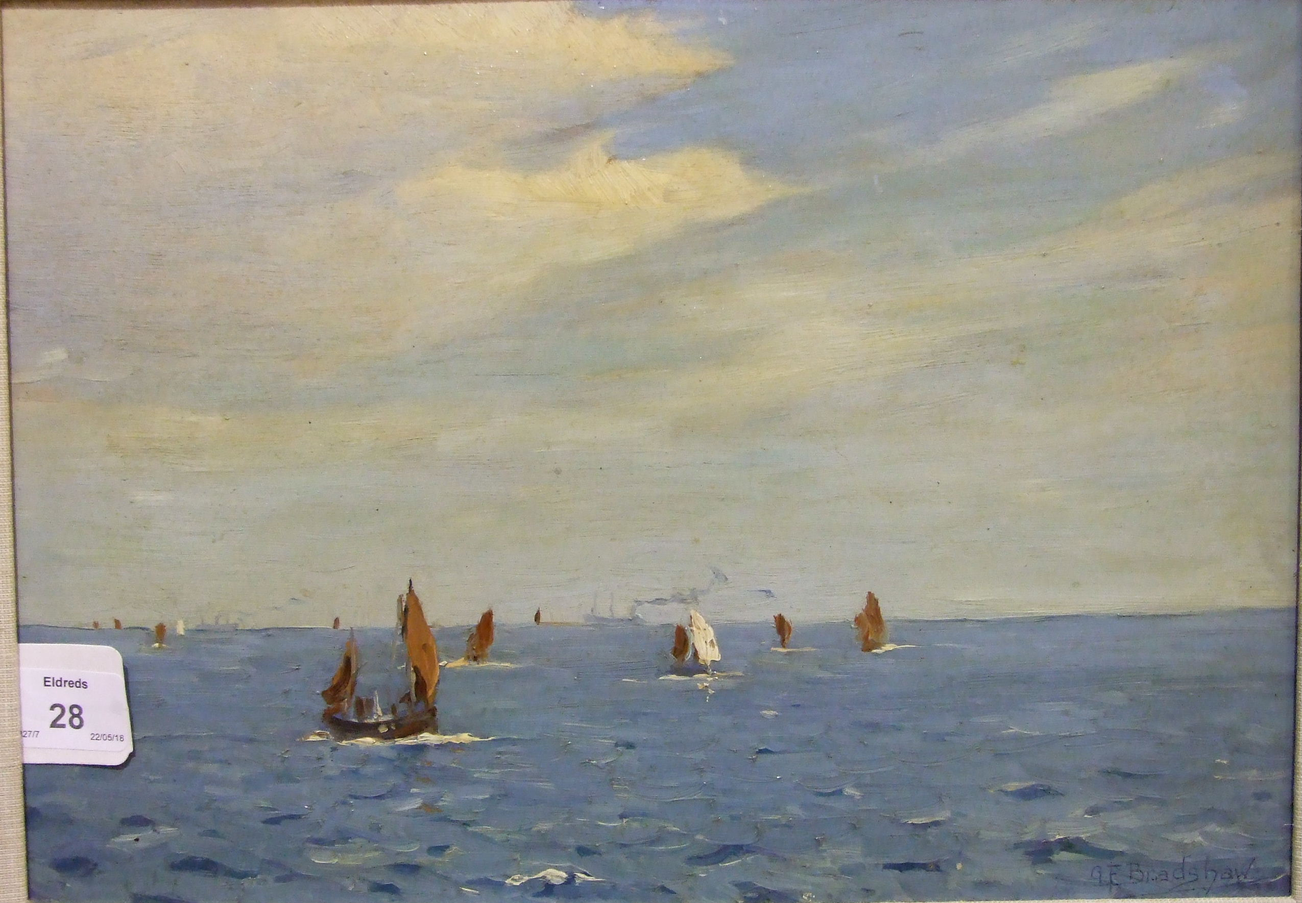•George Fagan Bradshaw (1887-1960) FISHING BOATS AND VESSELS AT SEA Signed oil on board, 23.5 x