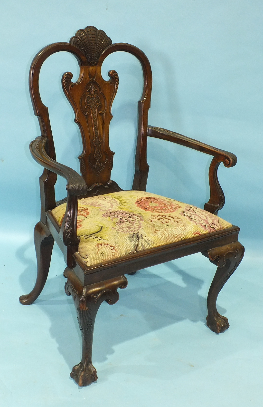 A Chippendale-style mahogany carver chair of generous proportions, the carved frame and drop-in seat - Image 2 of 2