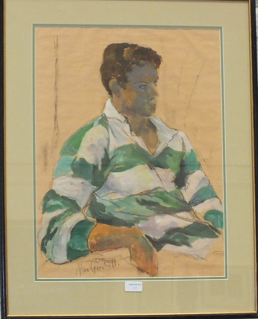 •Ken Symonds HEAD AND SHOULDERS, HILARY Pastel, inscribed and titled verso, 49 x 63cm and other - Image 2 of 2