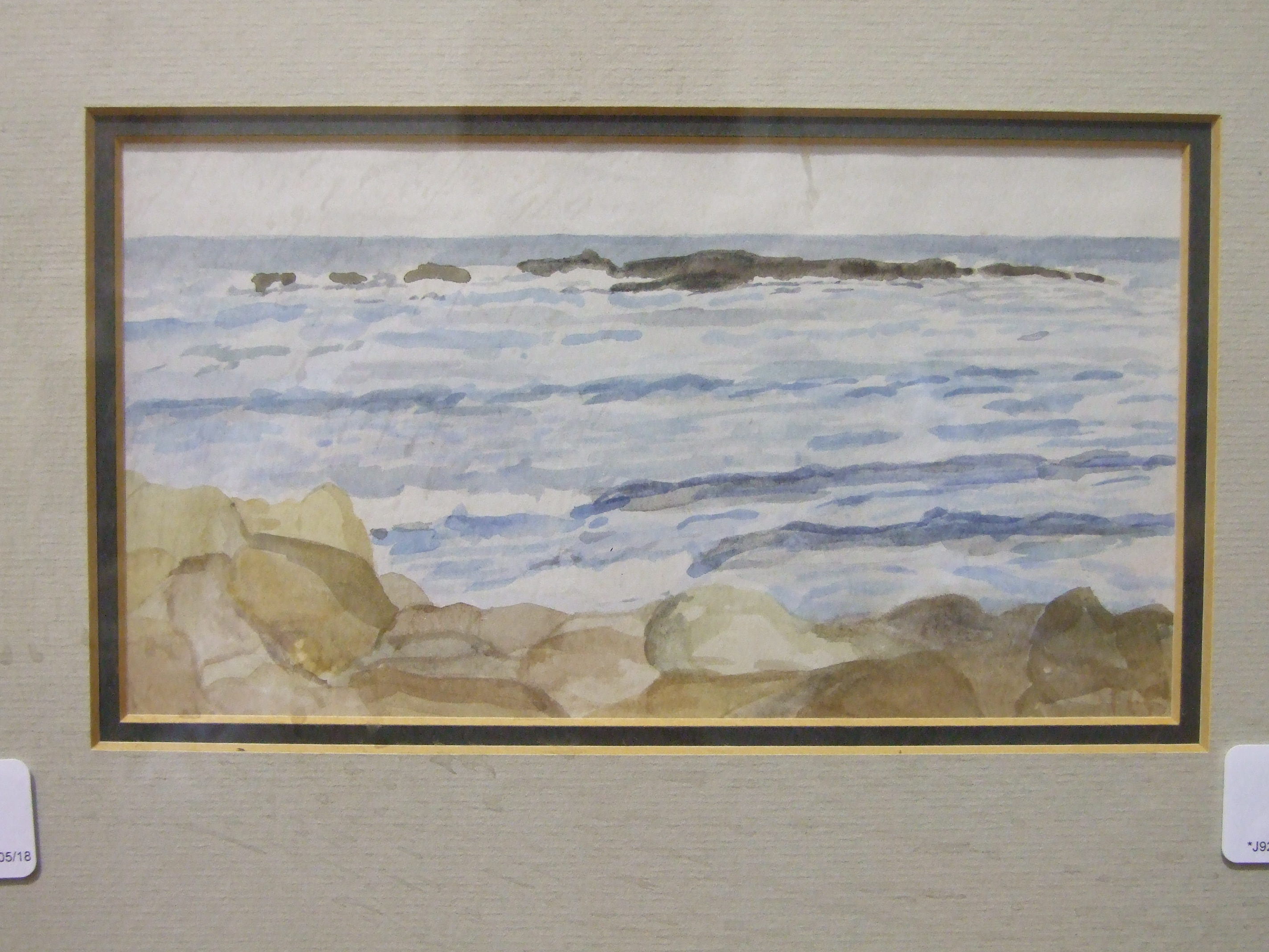 T C Gotch WAVES BREAKING ON A SHORELINE Watercolour sketch, signed with initials, 10 x 19cm,