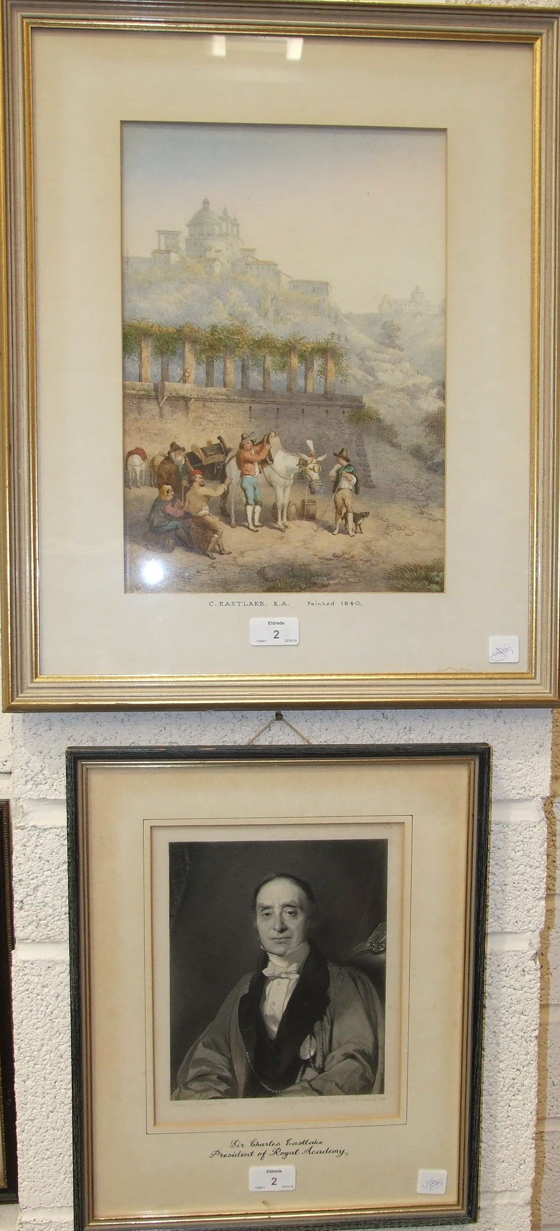 C Eastlake RA FIGURES AND MULES BESIDE RUINS NEAR ROME Watercolour, initialled and dated 1840, 36