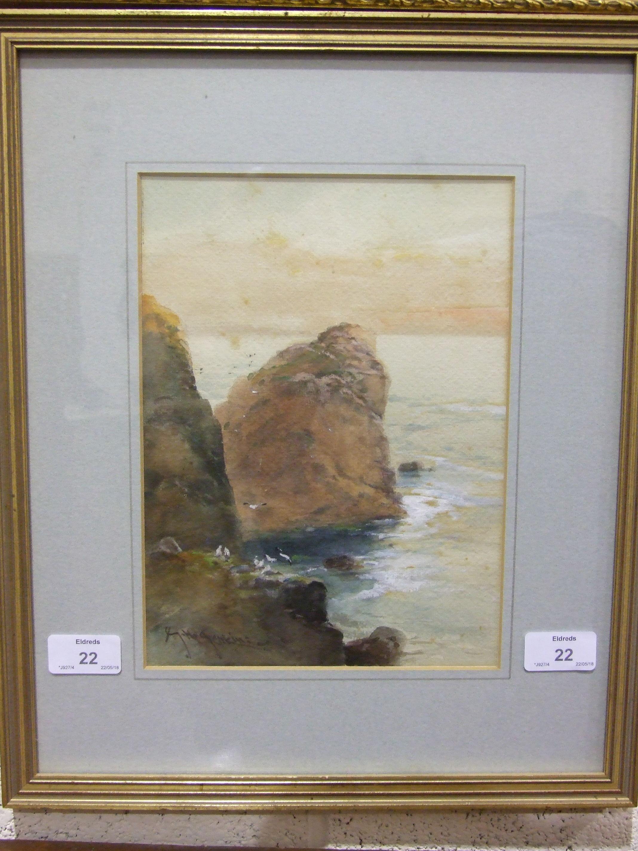 G H Jenkins (1843-1914) THE LION ROCK, KYNANCE COVE Signed watercolour, 25.5 x 19cm.