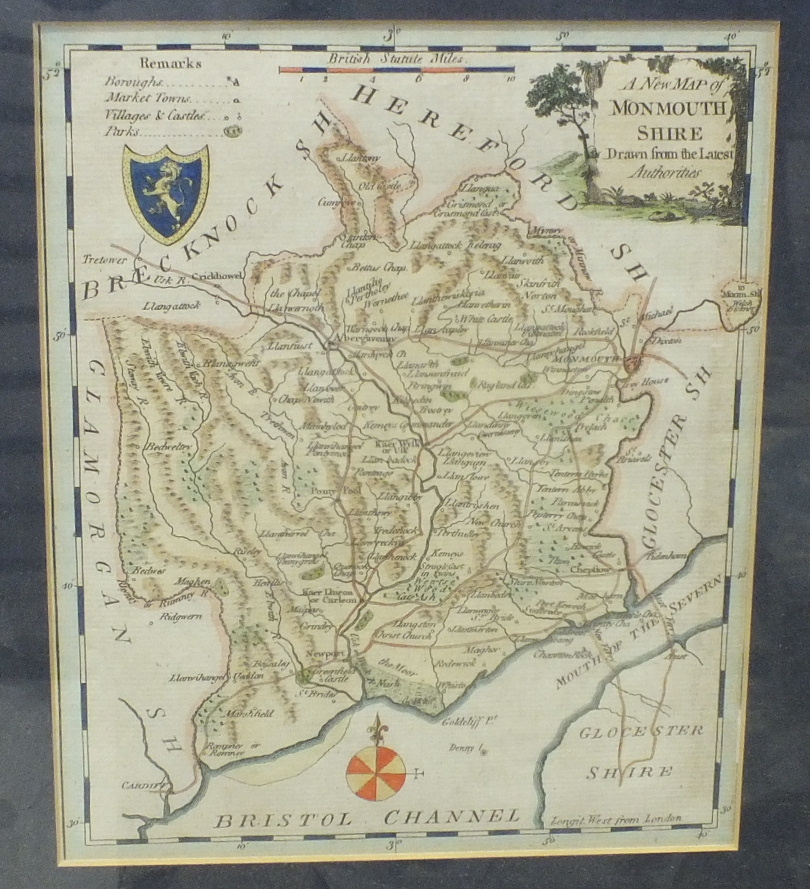 A Greenwood & Co. map of the County of Monmouth, hand-coloured, engraved Josiah Neele, published - Image 5 of 5