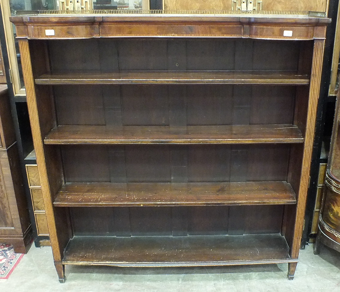 An Edwardian inlaid mahogany open bookcase, the brass galleried top above three adjustable - Image 2 of 2