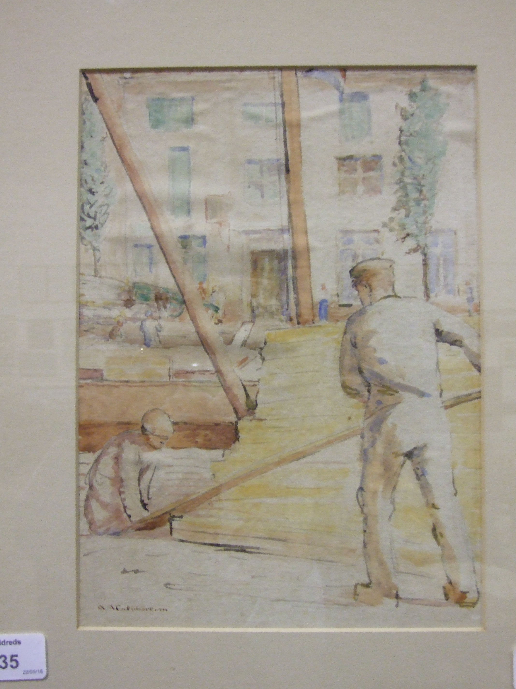 W A Cuthbertson STUDY OF WORKMEN HANDLING PLANKS OF WOOD Signed watercolour, 27 x 19cm.