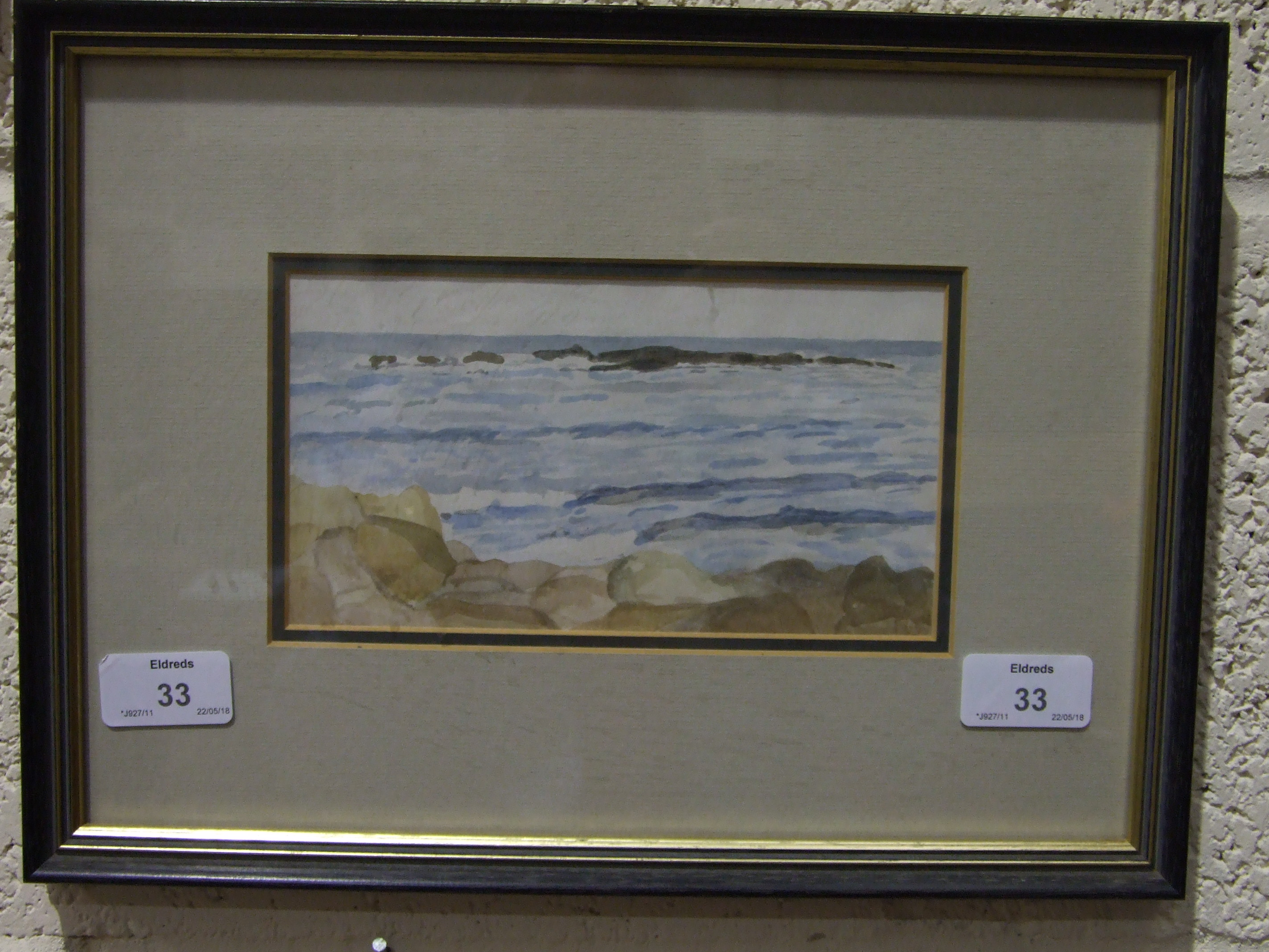 T C Gotch WAVES BREAKING ON A SHORELINE Watercolour sketch, signed with initials, 10 x 19cm, - Image 2 of 2